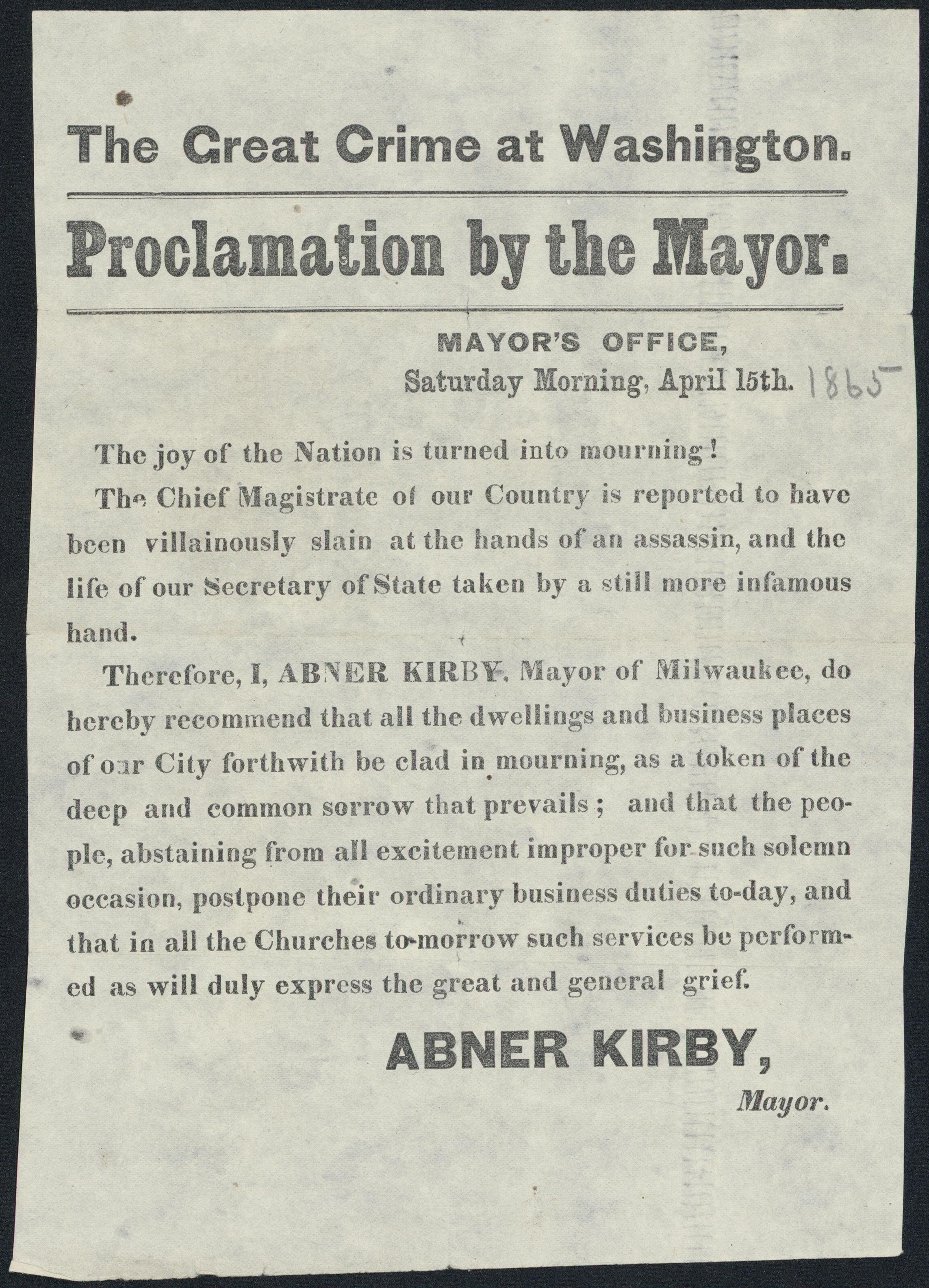 Proclamation by the Mayor of Milwaukee