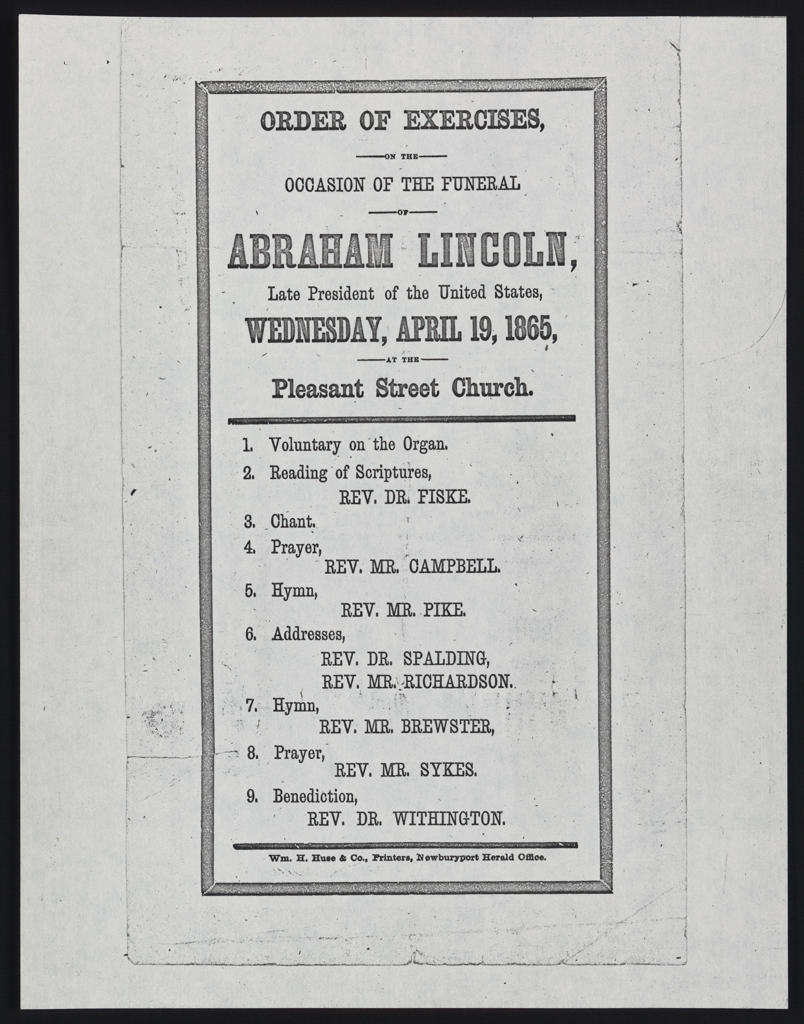 Order of Exercises, Occasion of the Funeral of Abraham Lincoln