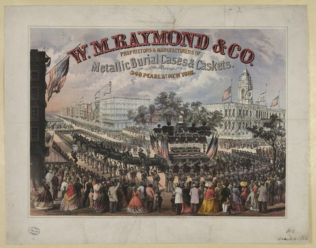 W.M. Raymond & Co. Proprietors & manufacturers of metallic burial cases & caskets. 348 Pearl St., New York