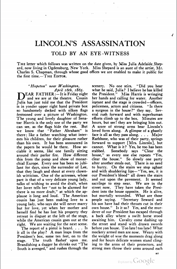 Lincoln's Assassination Told by an Eye Witness