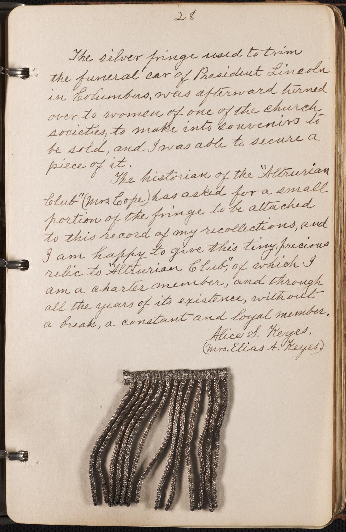 Alice Strickler Keyes diary entry