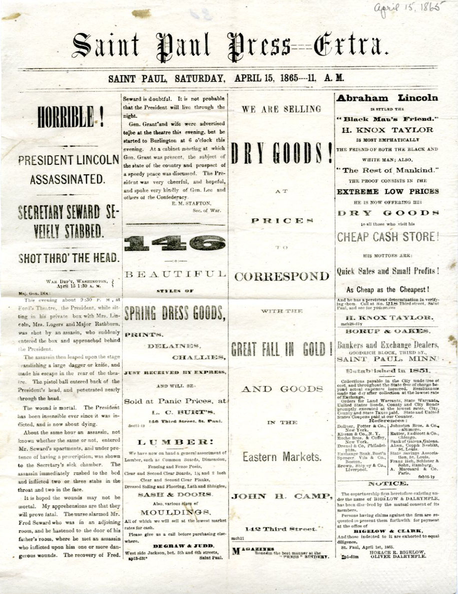 St. Paul Press Extra - Horrible! President Lincoln Assassinated - April 15, 1865