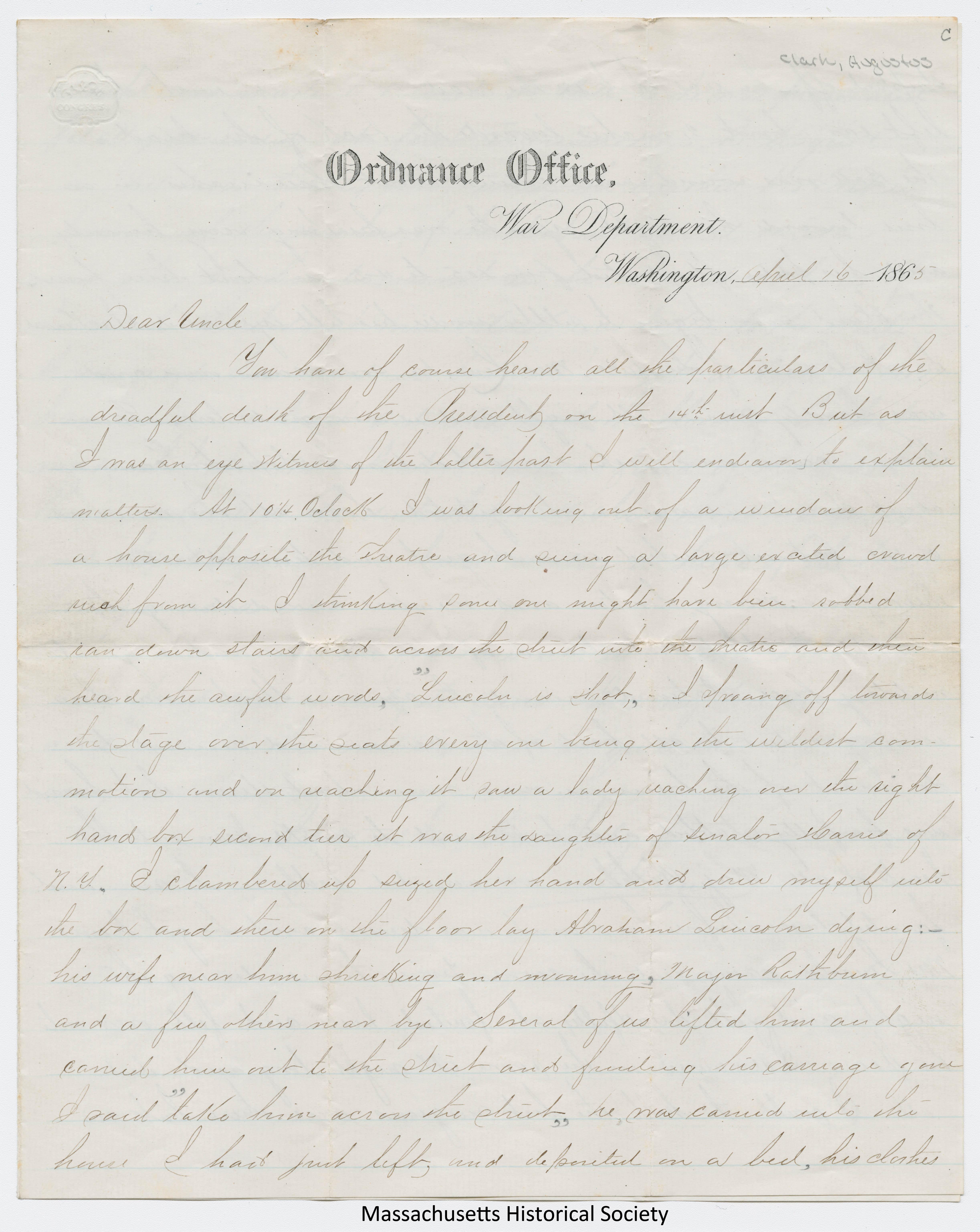 Letter from Augustus Clark to S. M. Allen, 16 April 1865