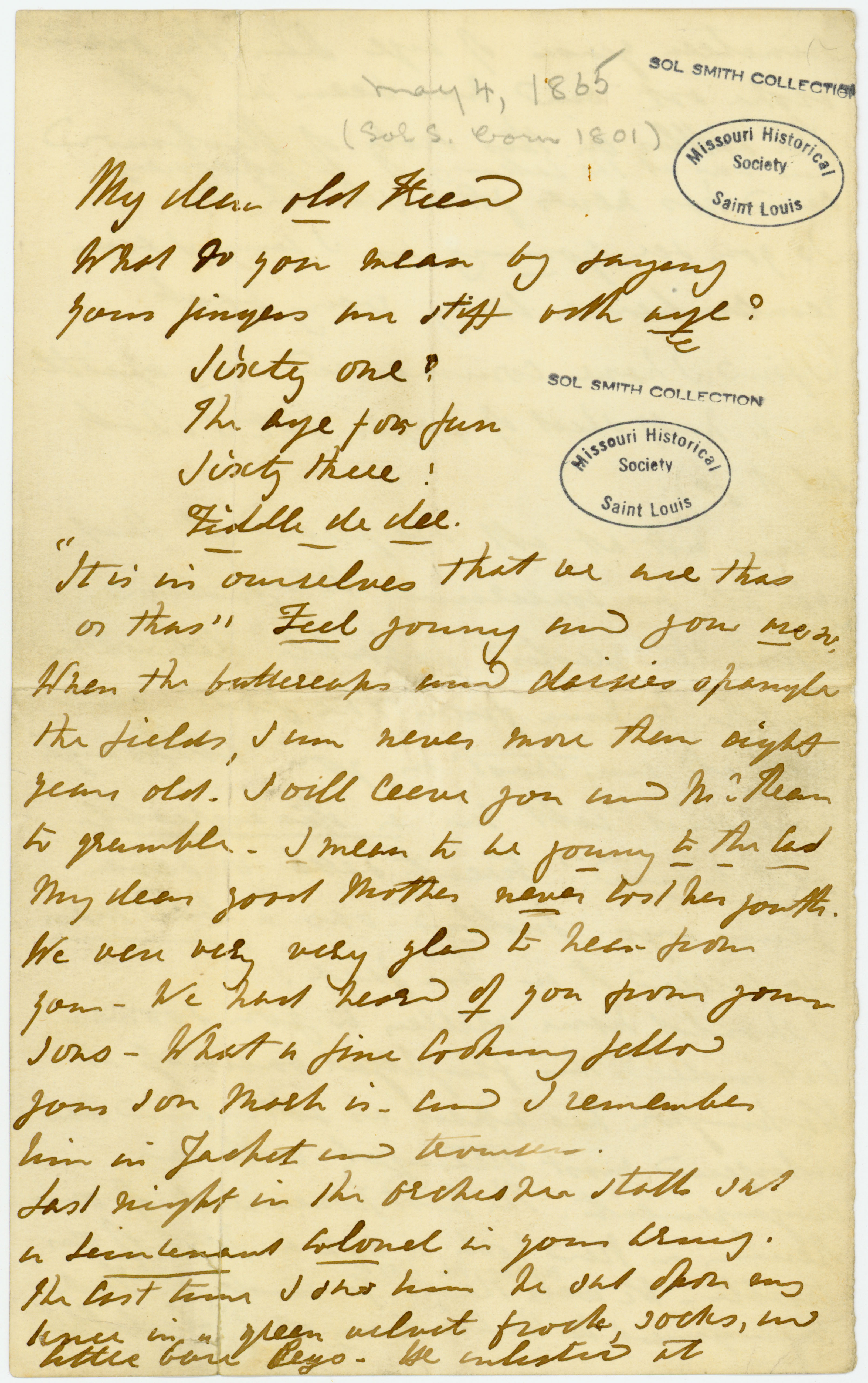 Letter of Ellen Kean, New York, to Sol Smith, May 4, 1865