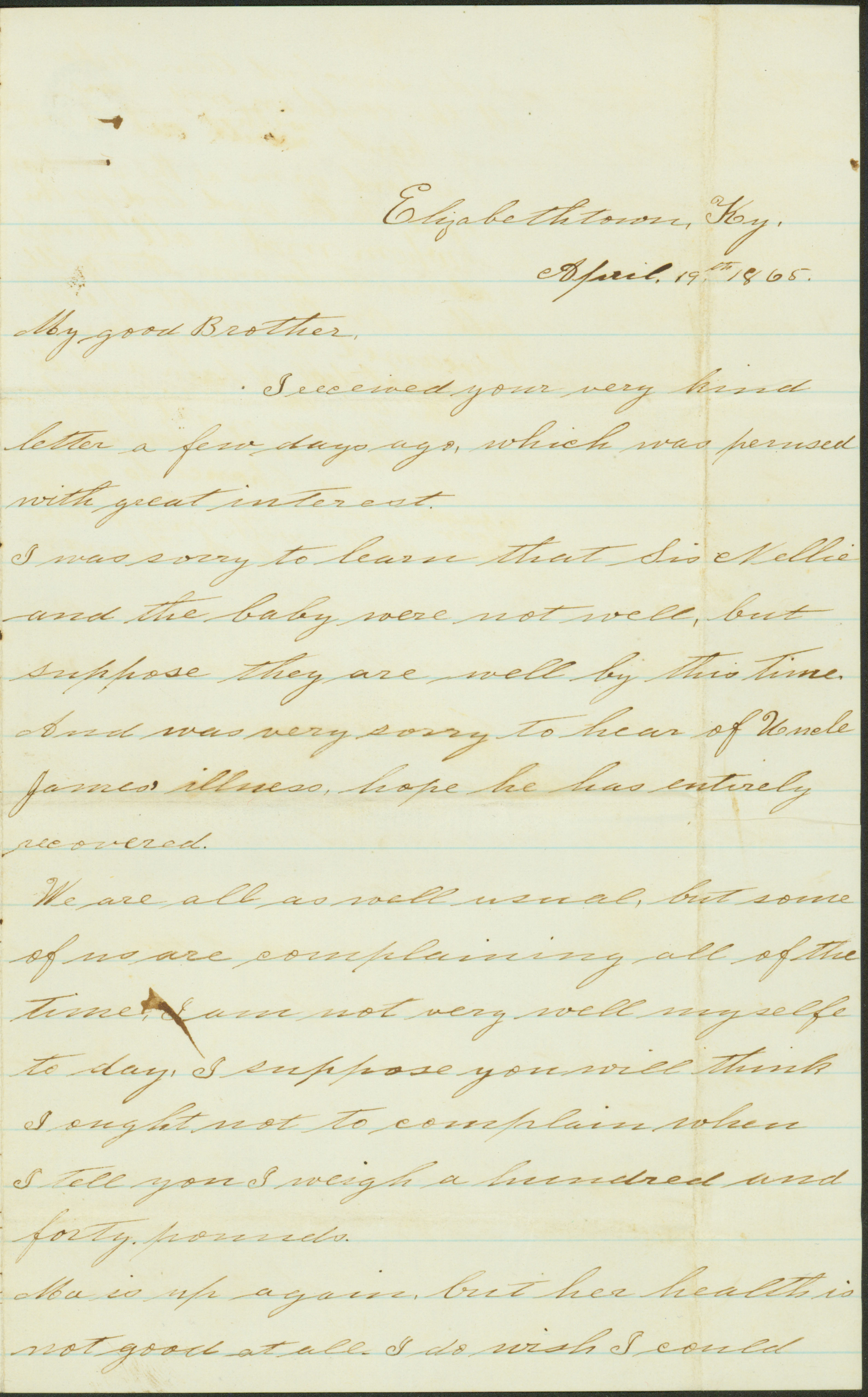 Letter of Sallie Thomas, Elizabethtown, Ky., to Brother [George W. Parker], April 19, 1865