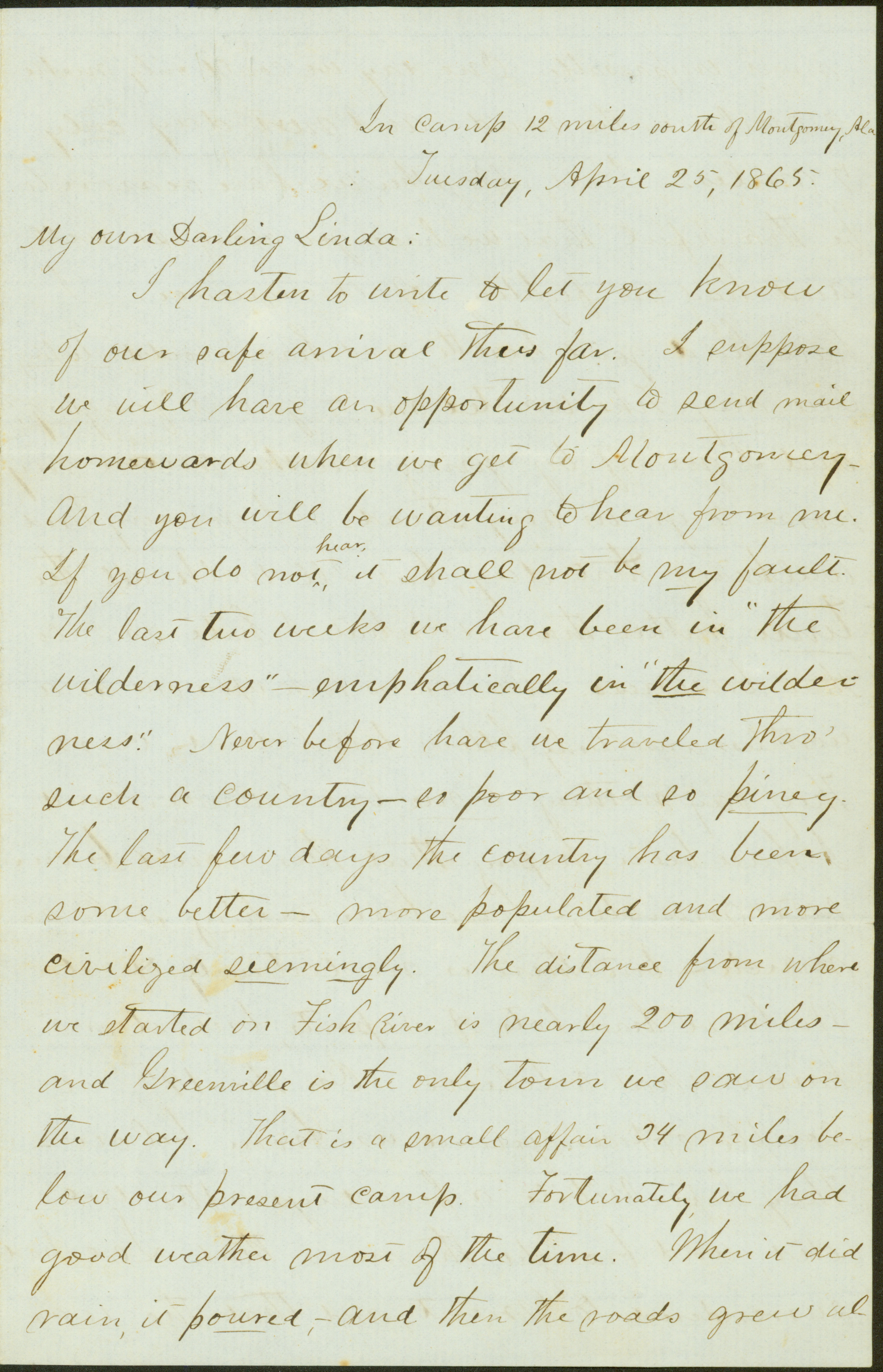 Letter of M. J. Miller, In camp 12 miles south of Montgomery, Ala., to Linda, April 25 and 29, 1865