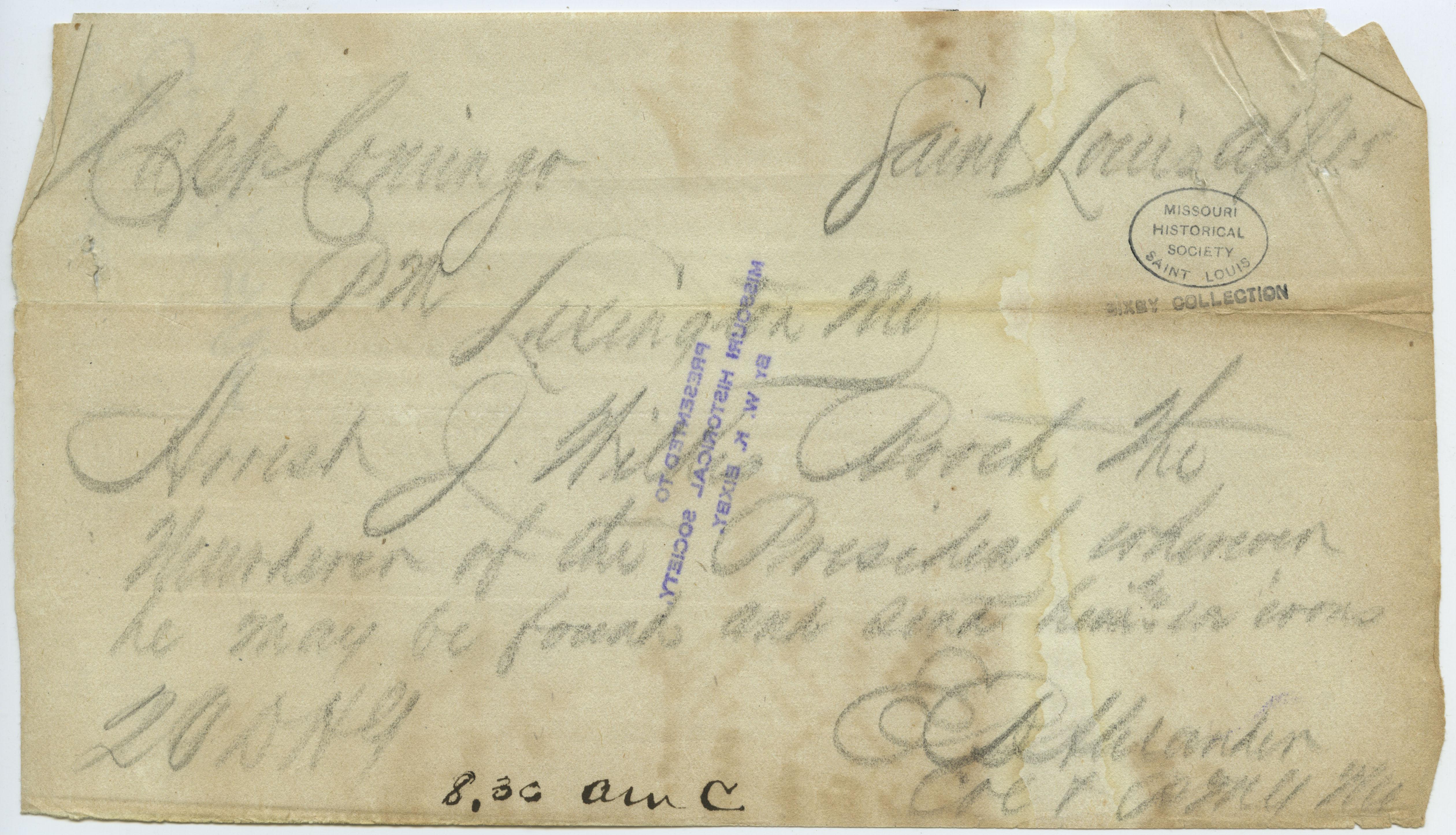 Contemporary copy of telegram of E. B. Alexander, Saint Louis, to Capt. Conigo, Lexington, Mo., April 15, [1865]