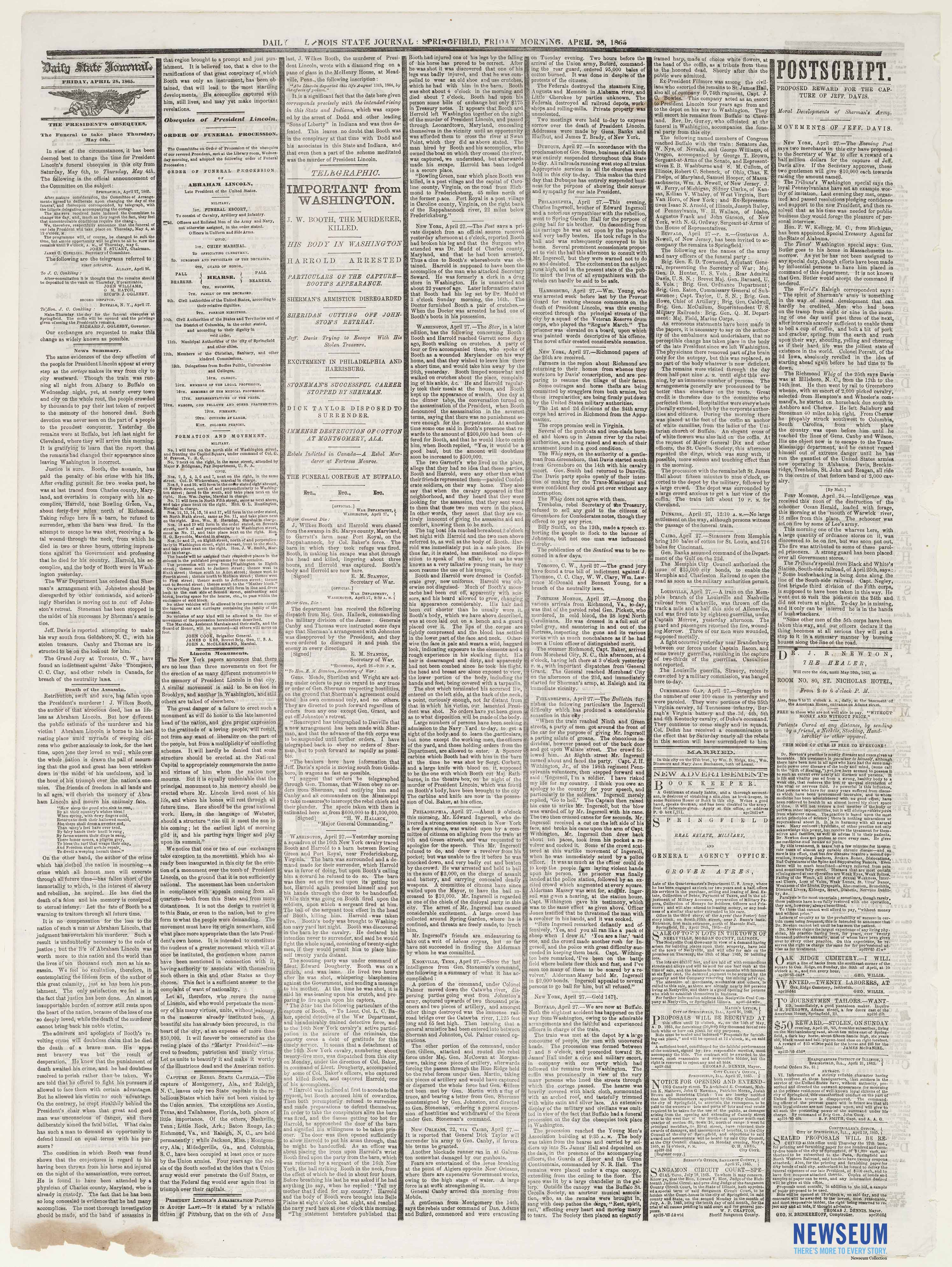 Illinois Daily State Journal, April 28, 1865