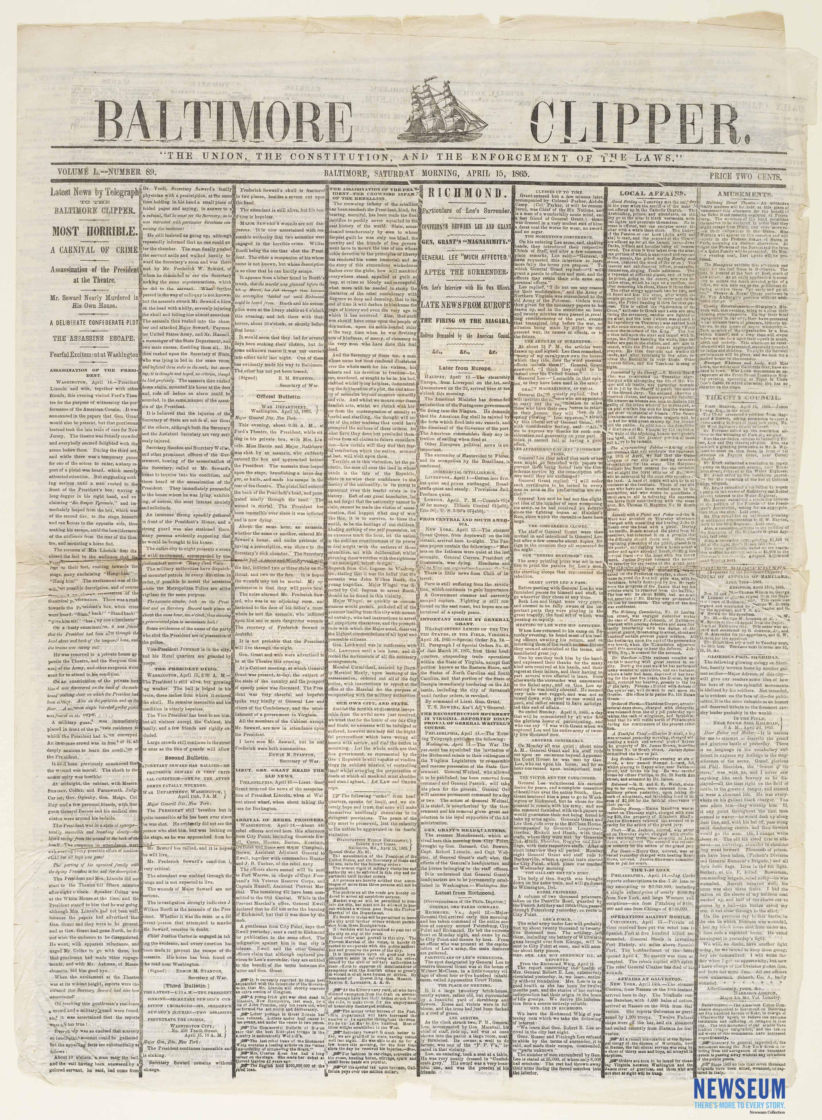 Baltimore Clipper, April 15, 1865