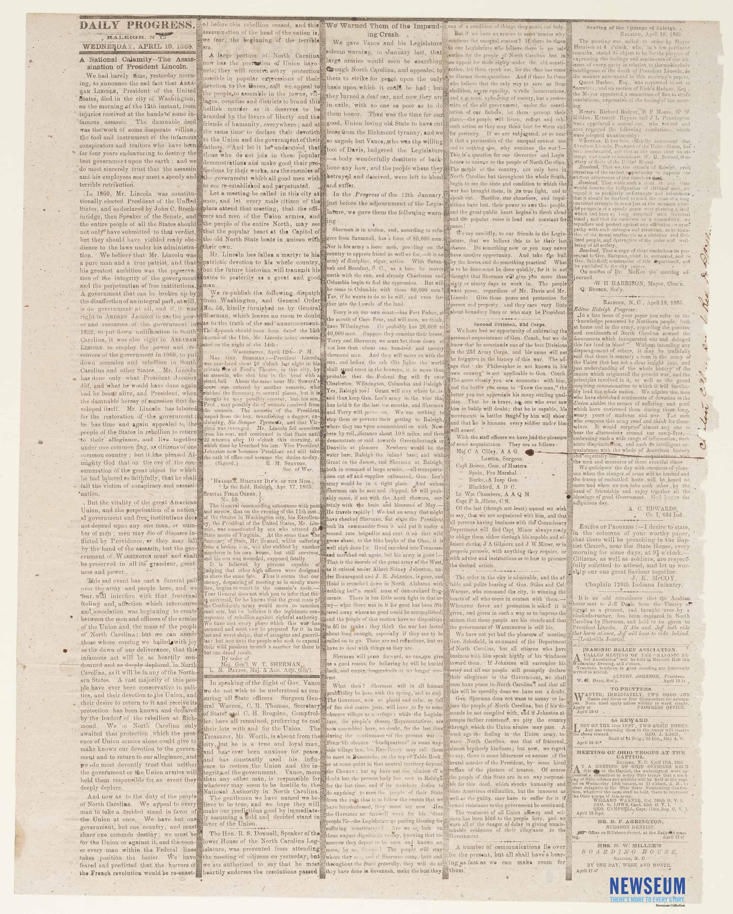 The Daily Progress, April 19, 1865