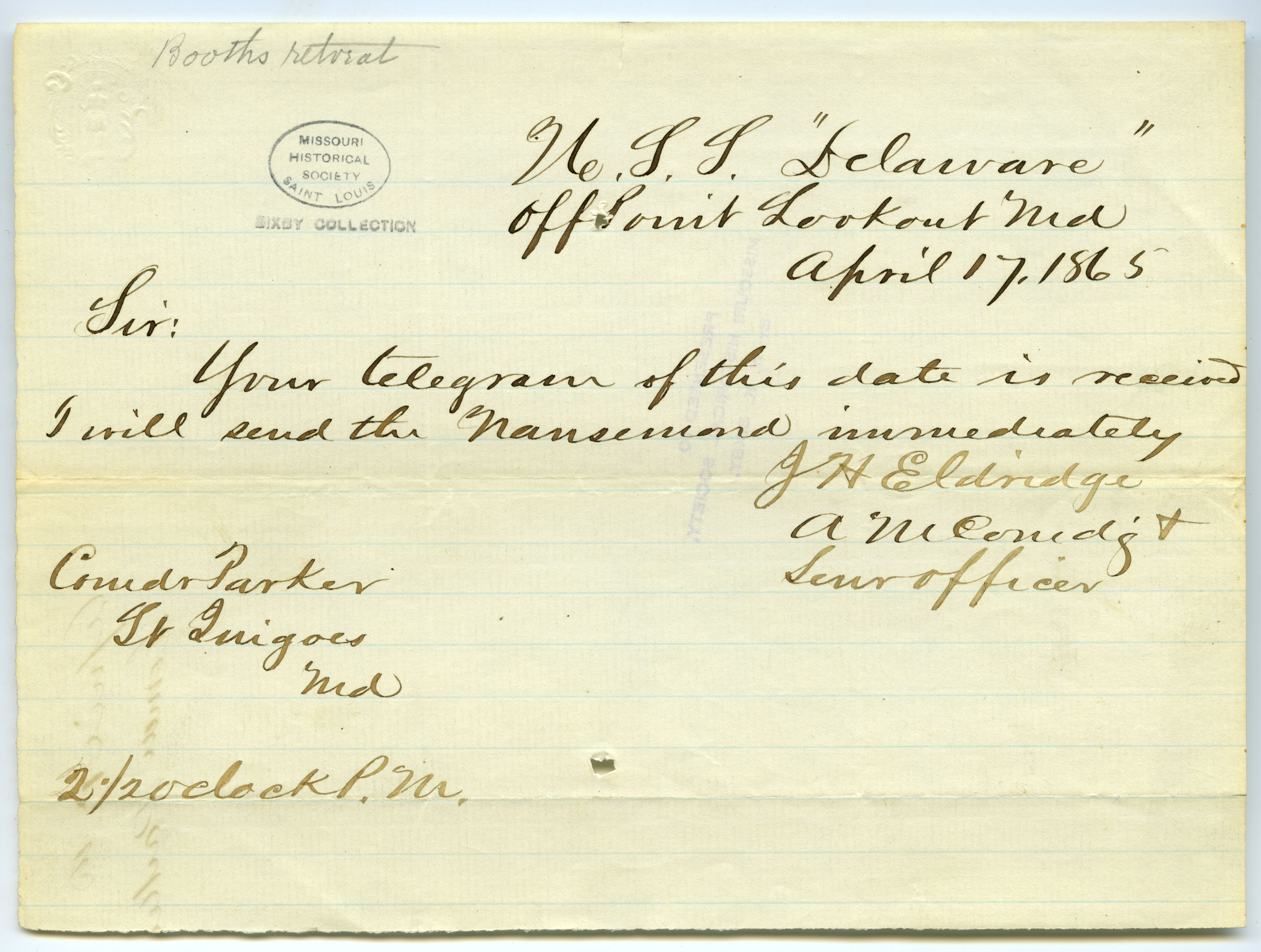 Note signed J.H. Eldridge, U.S.S.