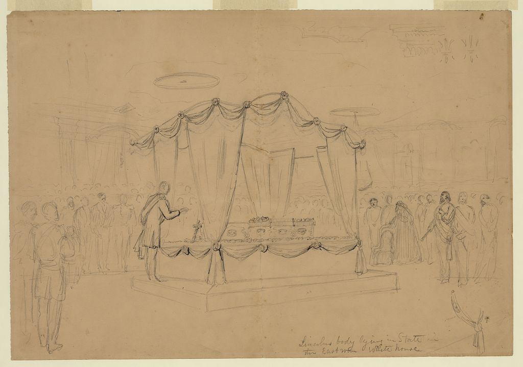 Lincoln's body lying in state in the East room White house
