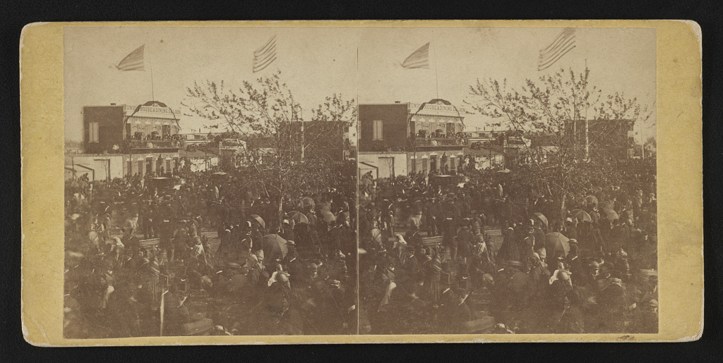 Crowd at the Baltimore depot before the funeral arrived