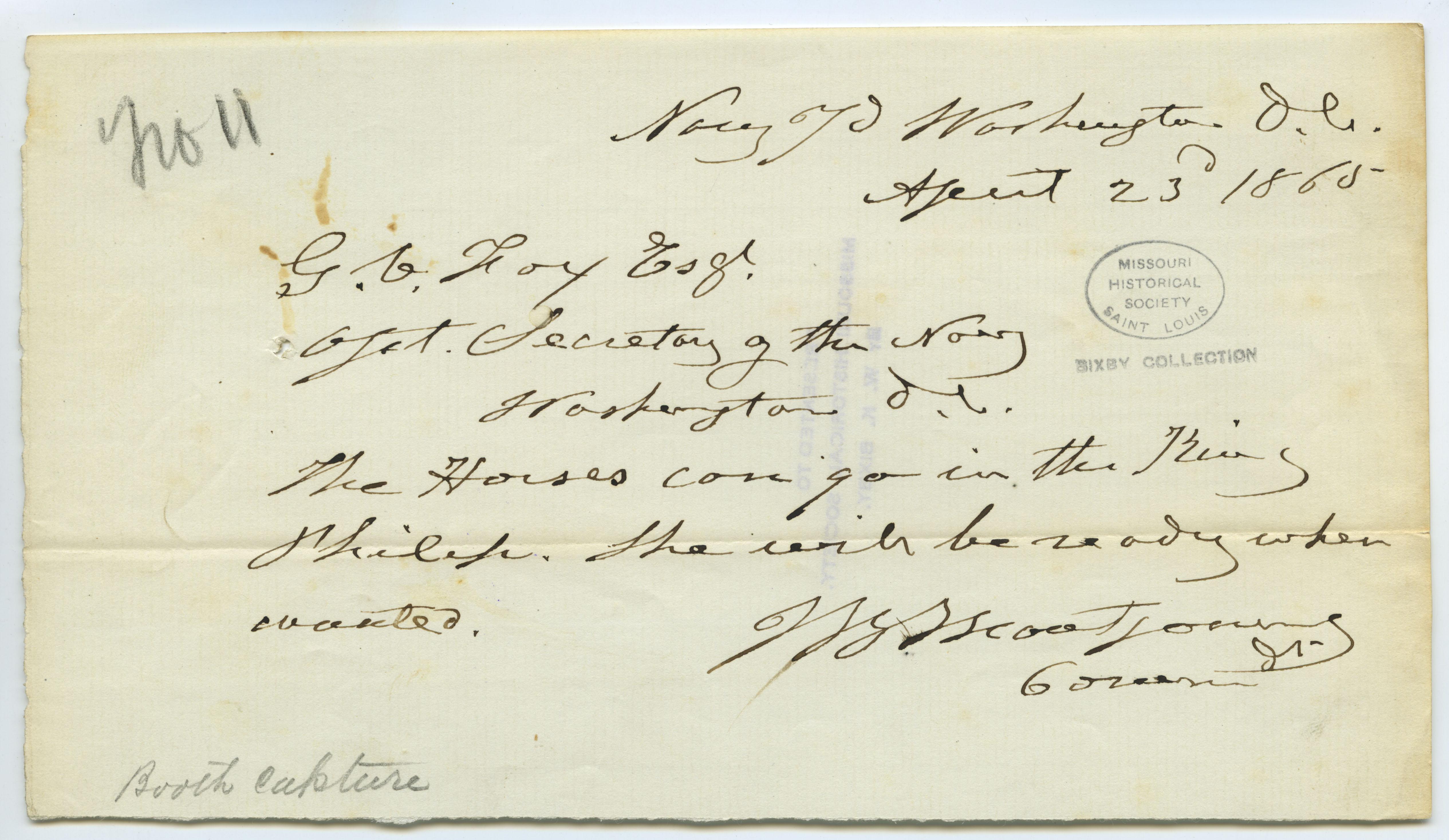 Contemporary copy of telegram of J.B. Montgomery, Navy Yard, Washington, D.C., to G.V. Fox Esq., Asst. Secretary of the Navy, Washington, D.C., April 23, 1865