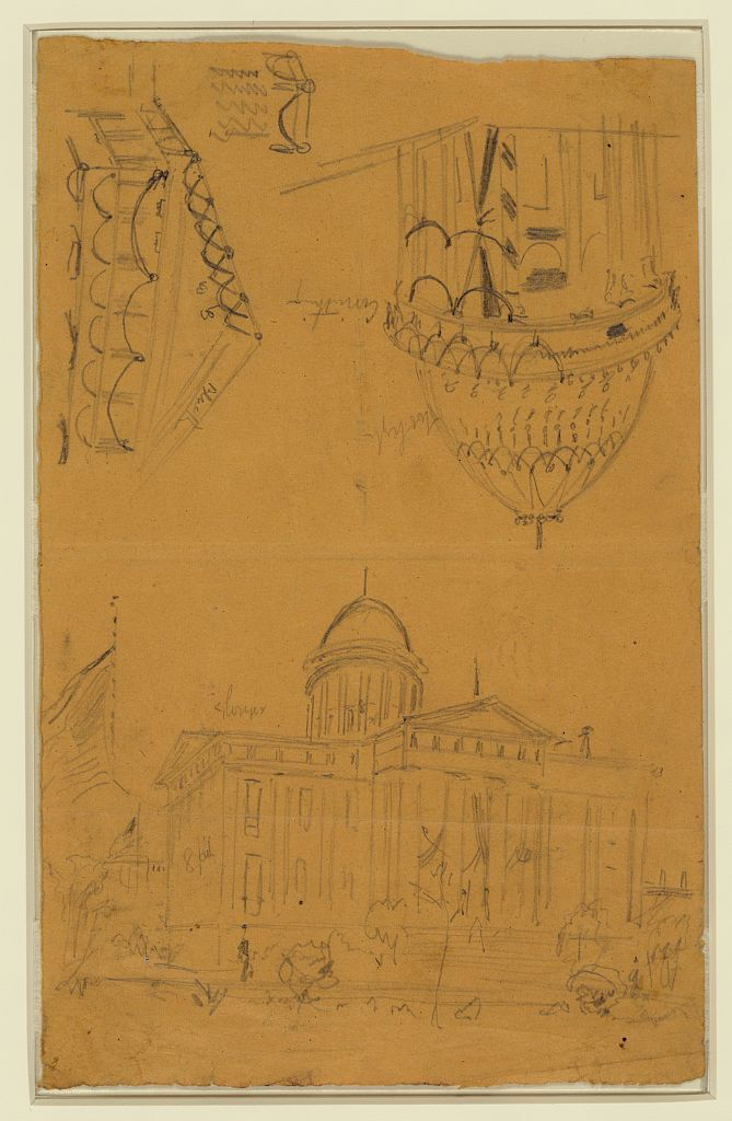 Illinois statehouse, Springfield, Ill, with details showing draped bunting on dome