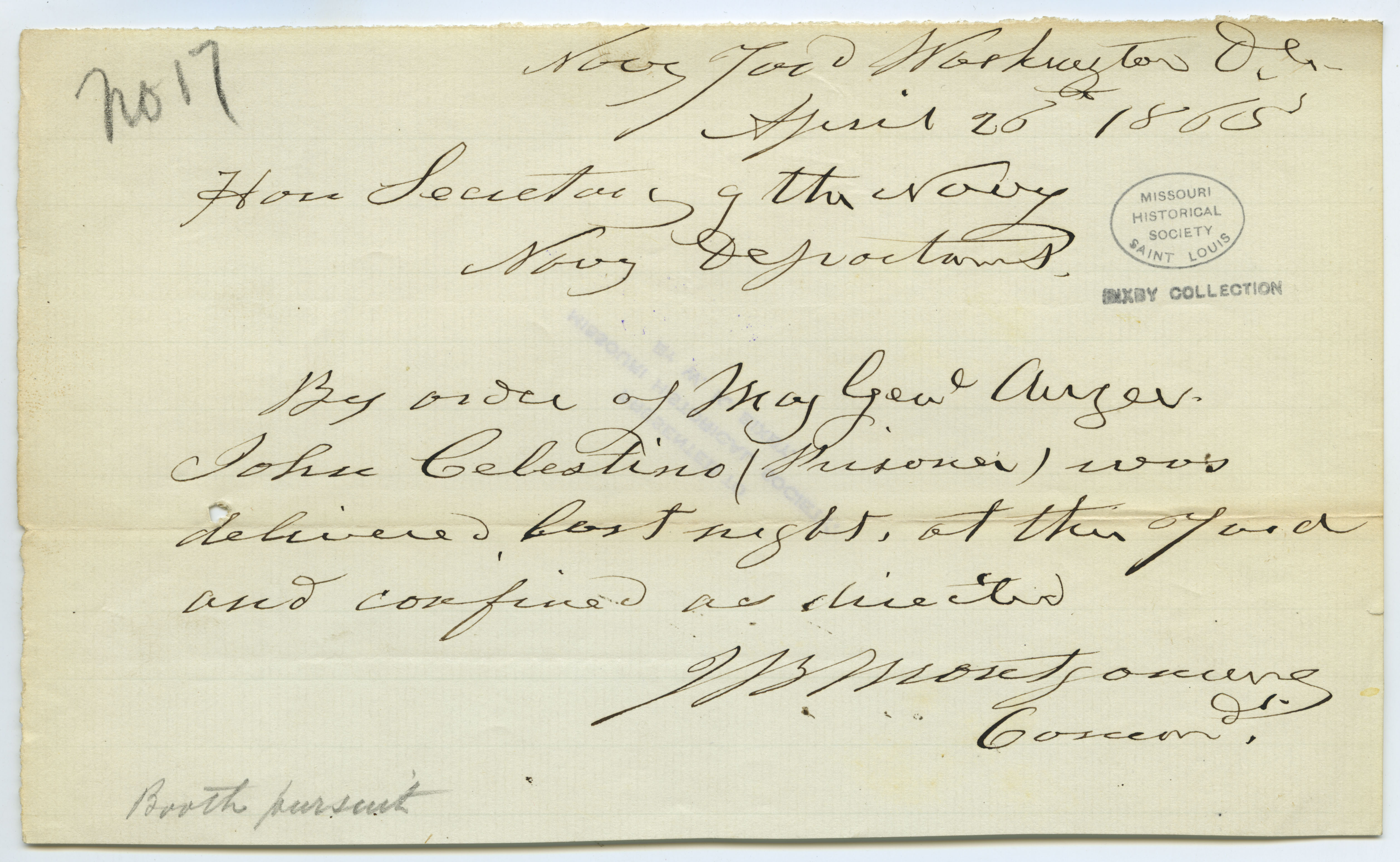 Contemporary copy of telegram of J.B. Montgomery, Navy Yard, Washington, D.C., to Hon. Secretary of the Navy [Gideon Welles], Navy Department, April 26, 1865