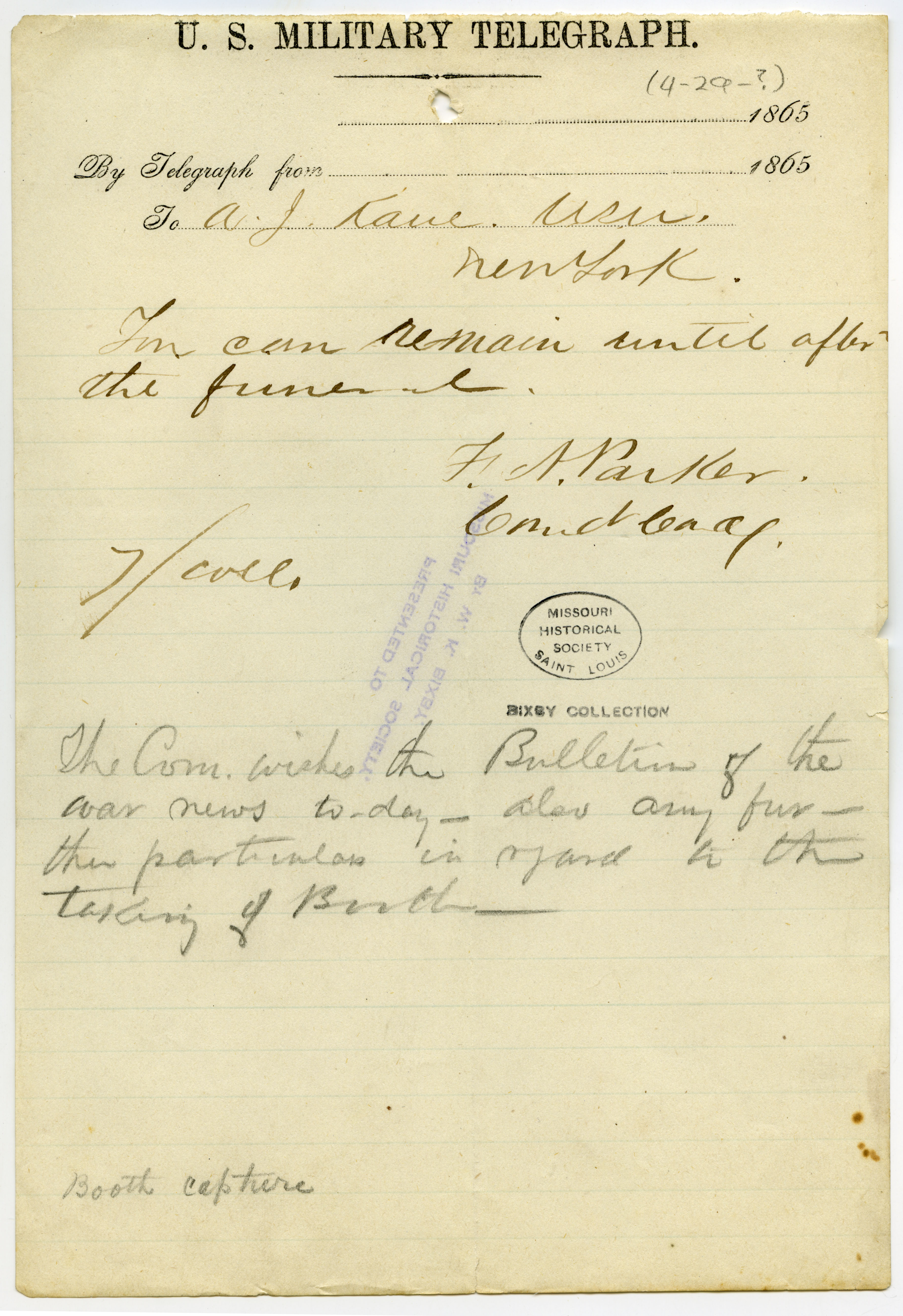United States Military Telegraph of F.A. Parker to A.J. Kane, New York, [April 29], 1865