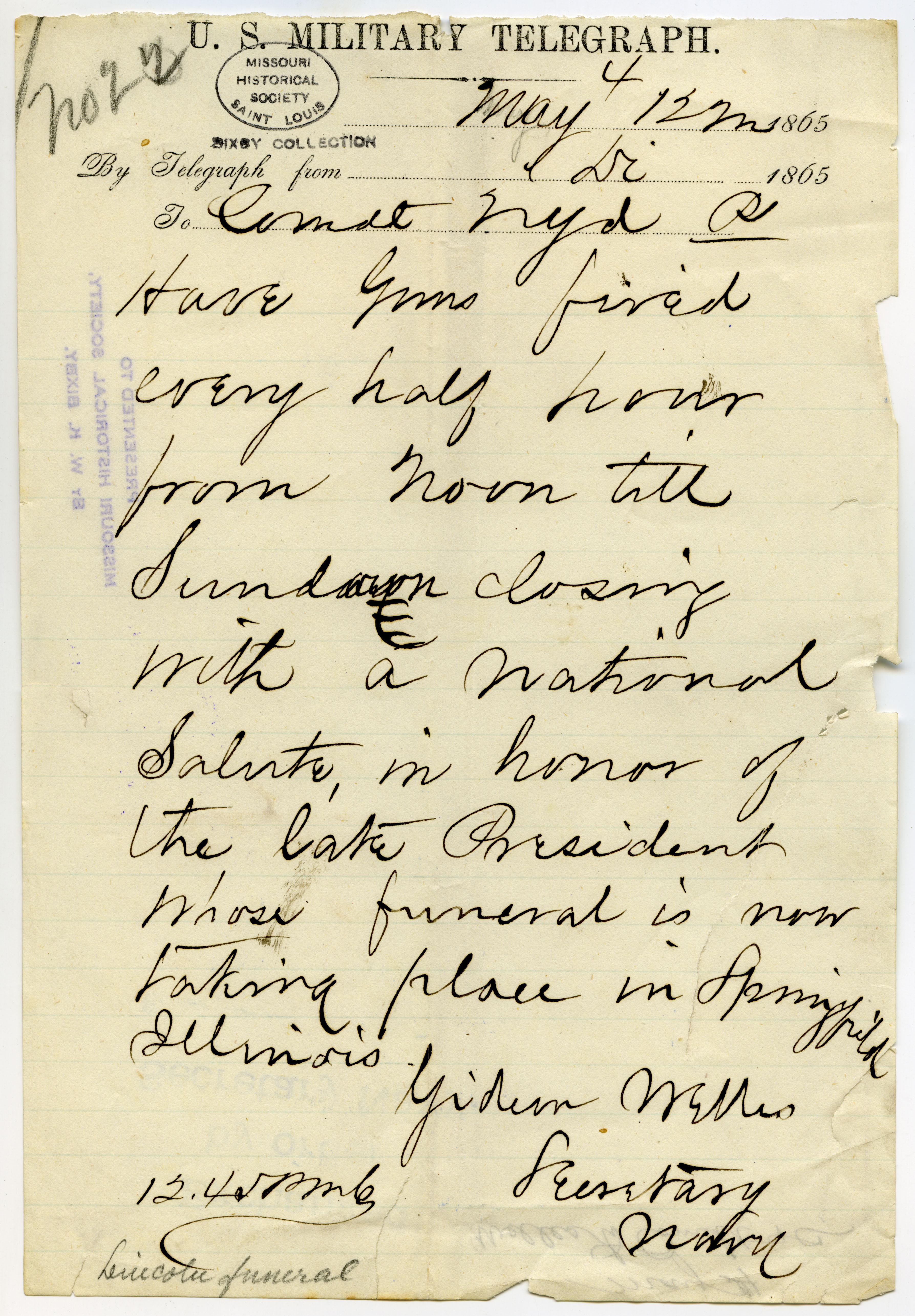 U.S. Military Telegraph of Gideon Welles, Secretary Navy, to Comdt. Navy Yard [J.B. Montgomery], May 4, 1865