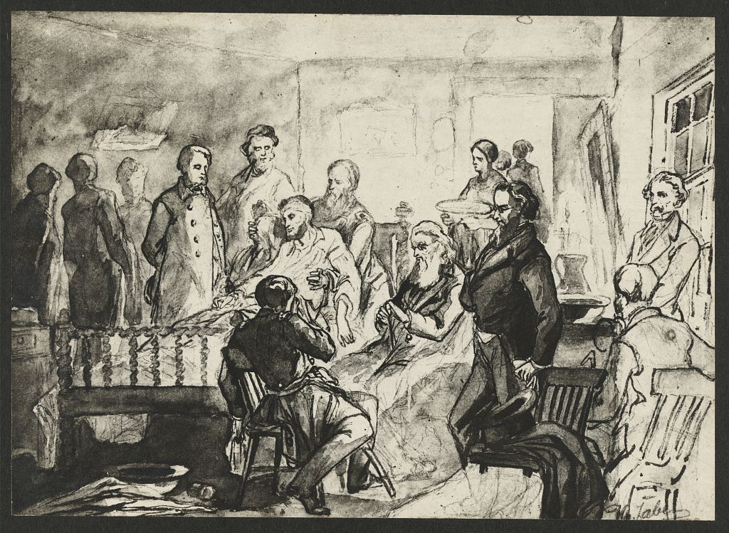 Drawing of the death bed scene of President Abraham Lincoln, with a man holding Lincoln