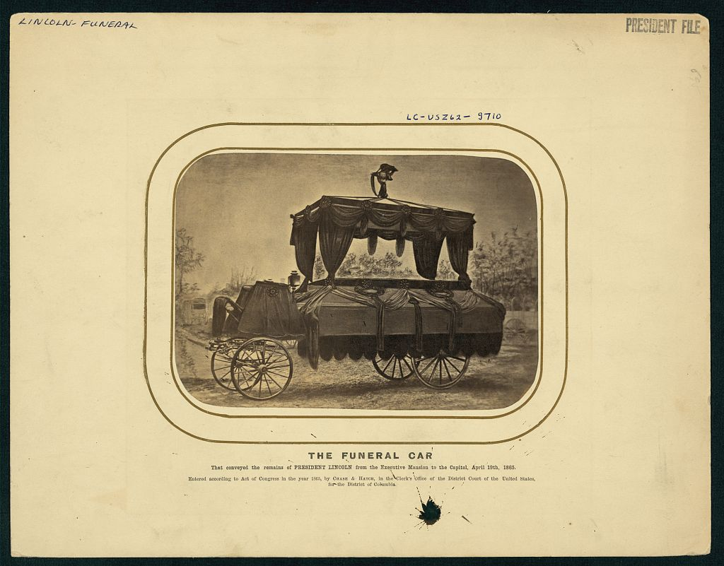 The funeral car that conveyed the remains of President Lincoln from the Executive Mansion to the Capitol, April 19th 1865