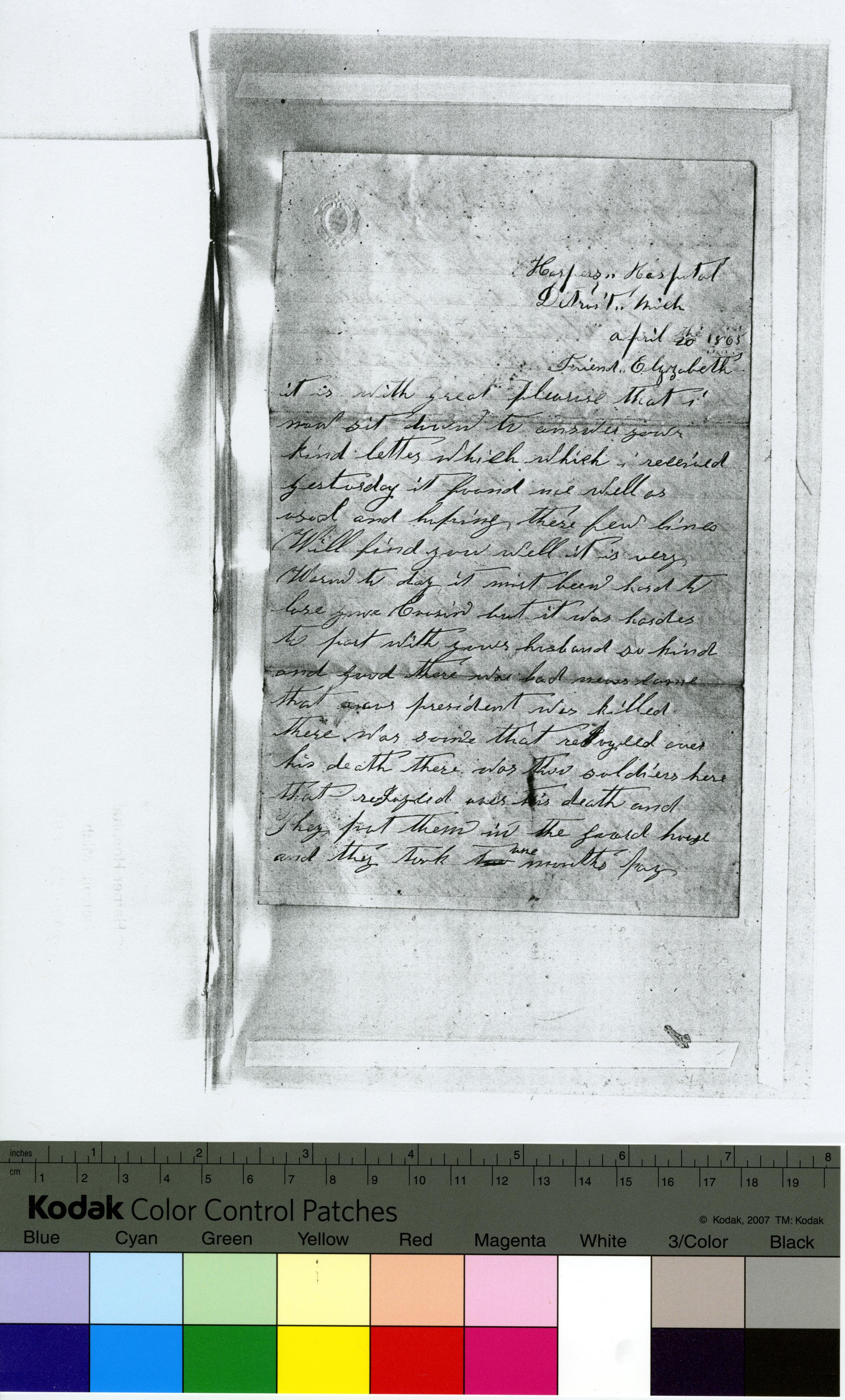 Photocopy of handwritten, unsigned letter to Friend Elizabeth, April 20, 1865