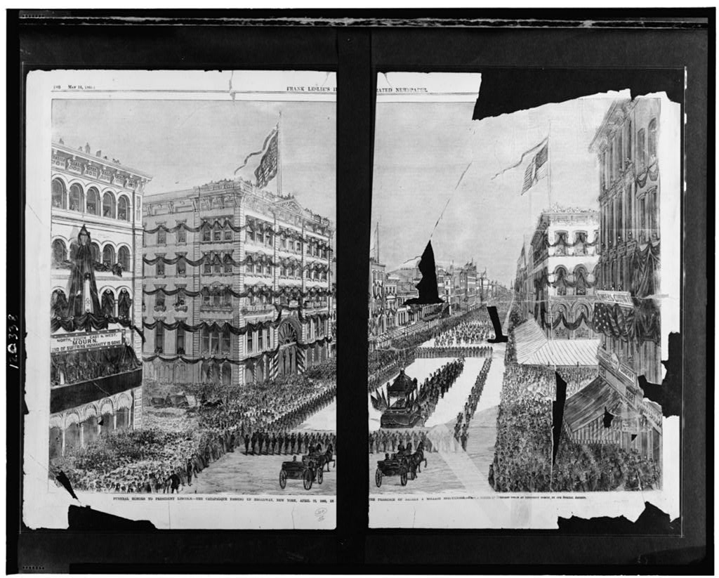 Funeral honors to President Lincoln - the catafalque passing up Broadway, New York, April 25, 1865, in the presence of nearly a million spectators