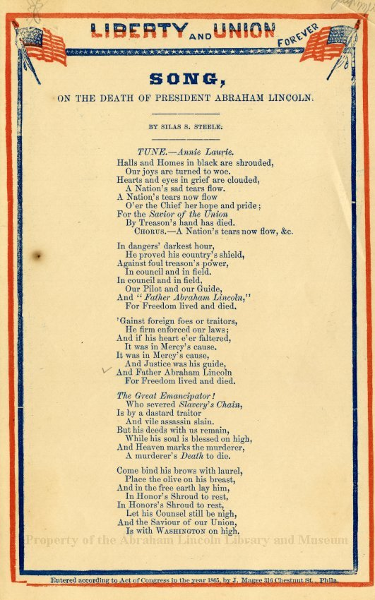 Song on the death of President Abraham Lincoln