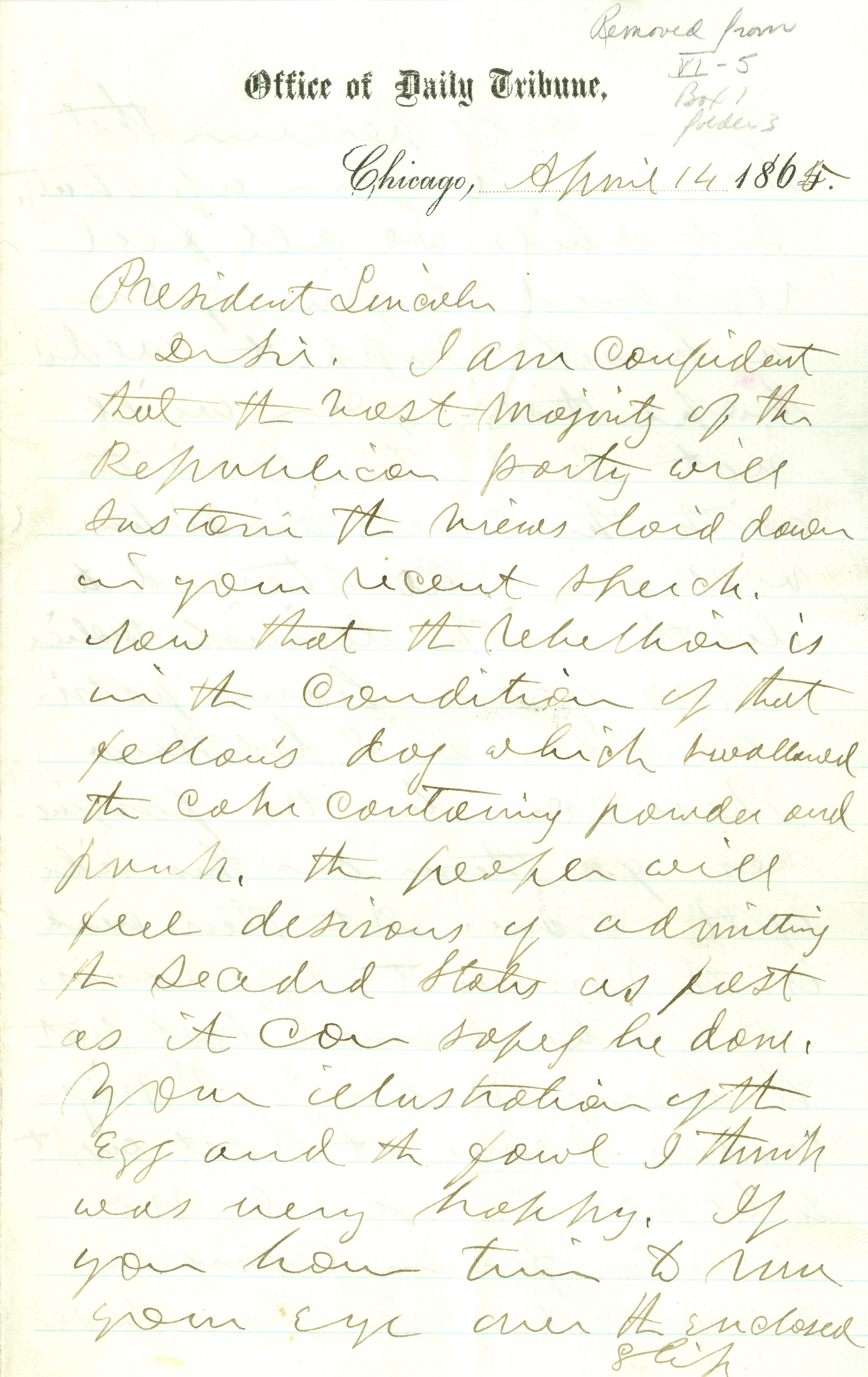 Letter to Abraham Lincoln from Joseph Medill