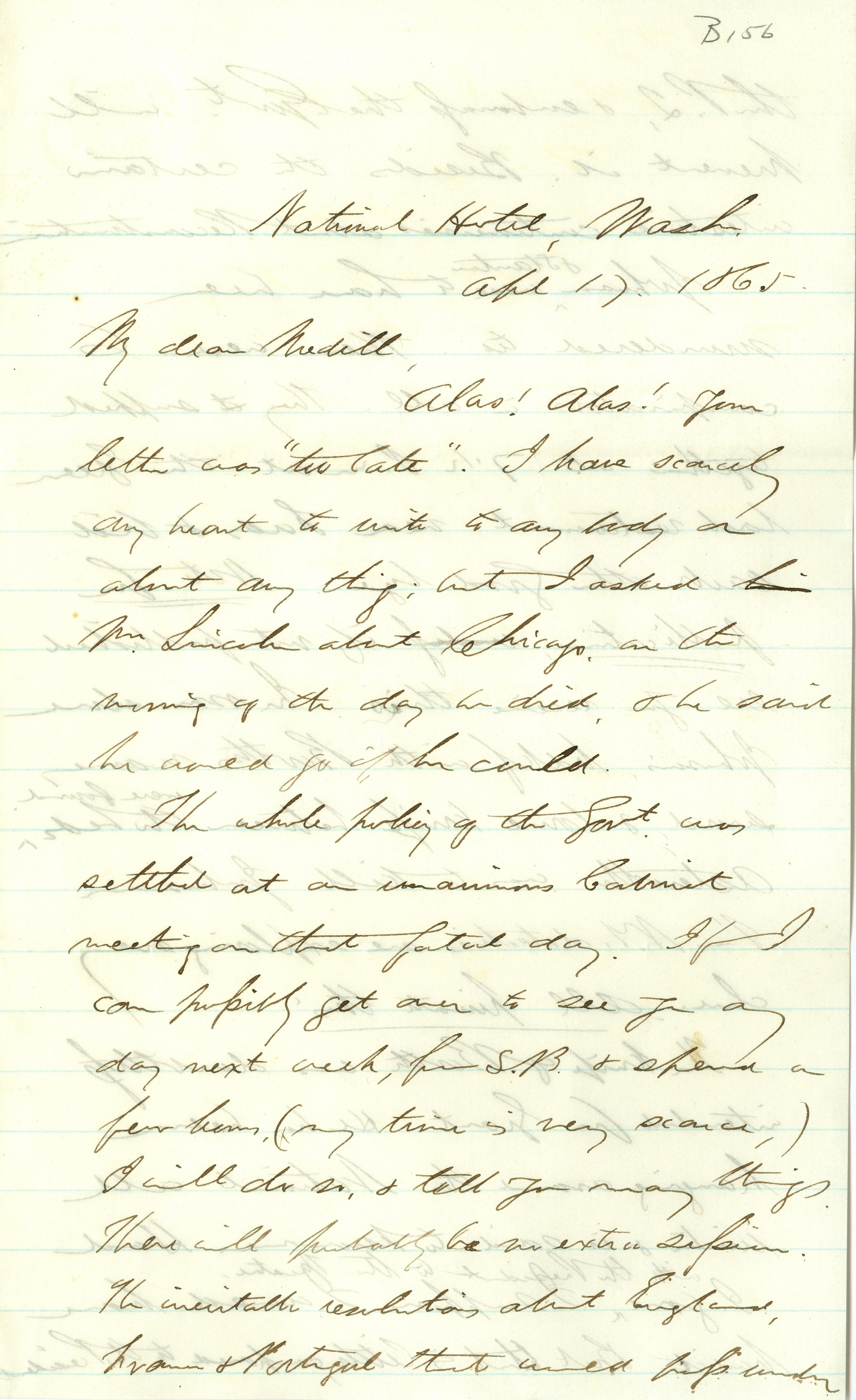 Handwritten letter to Joseph Medill from Schuyler Colfax