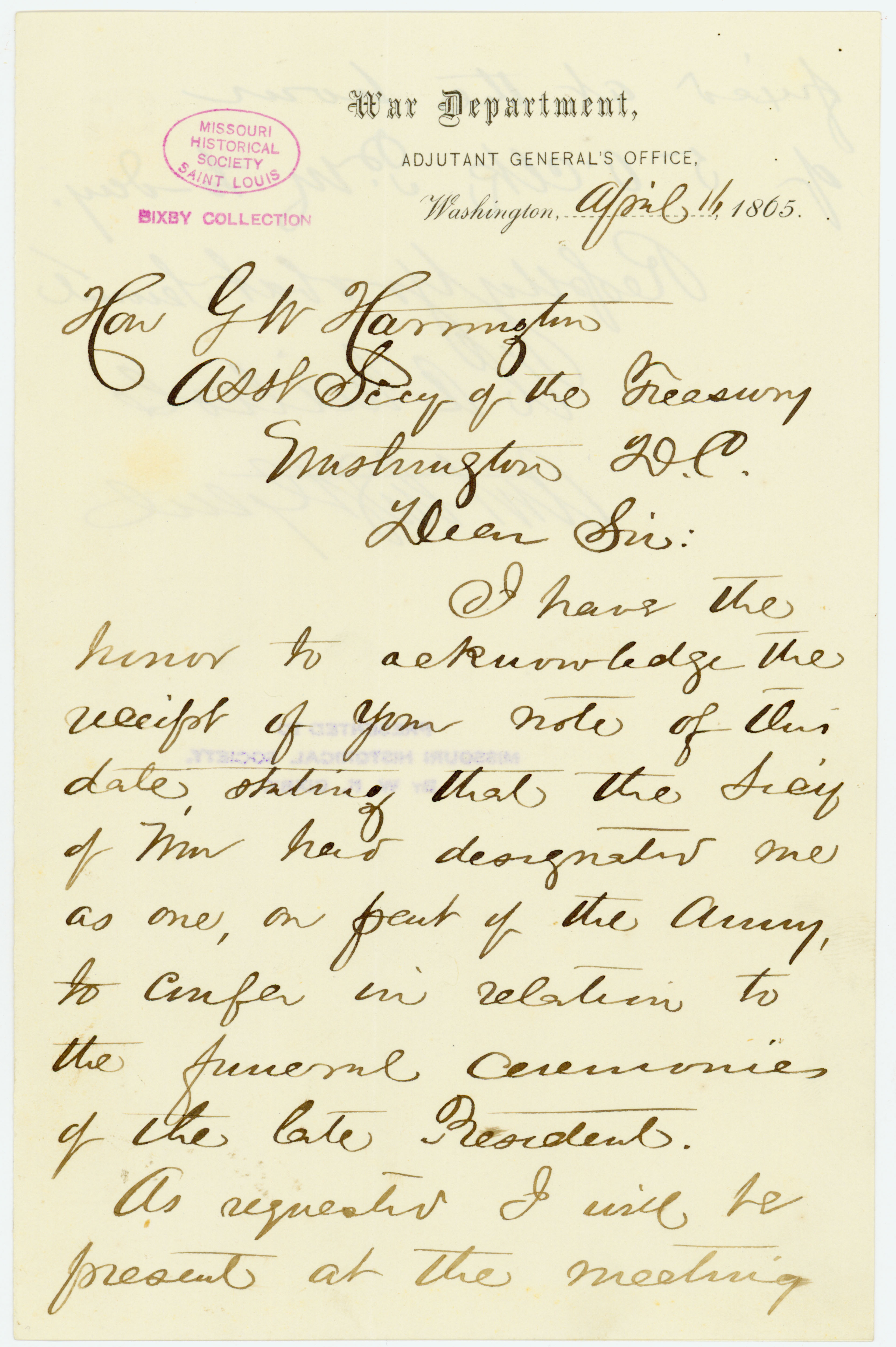 Letter signed W.A. Nichols, War Department, Adjutant General's Office, Washington, to Hon. G.W. Harrington, Asst. Secy. of the Treasury, Washington, D.C., April 16, 1865