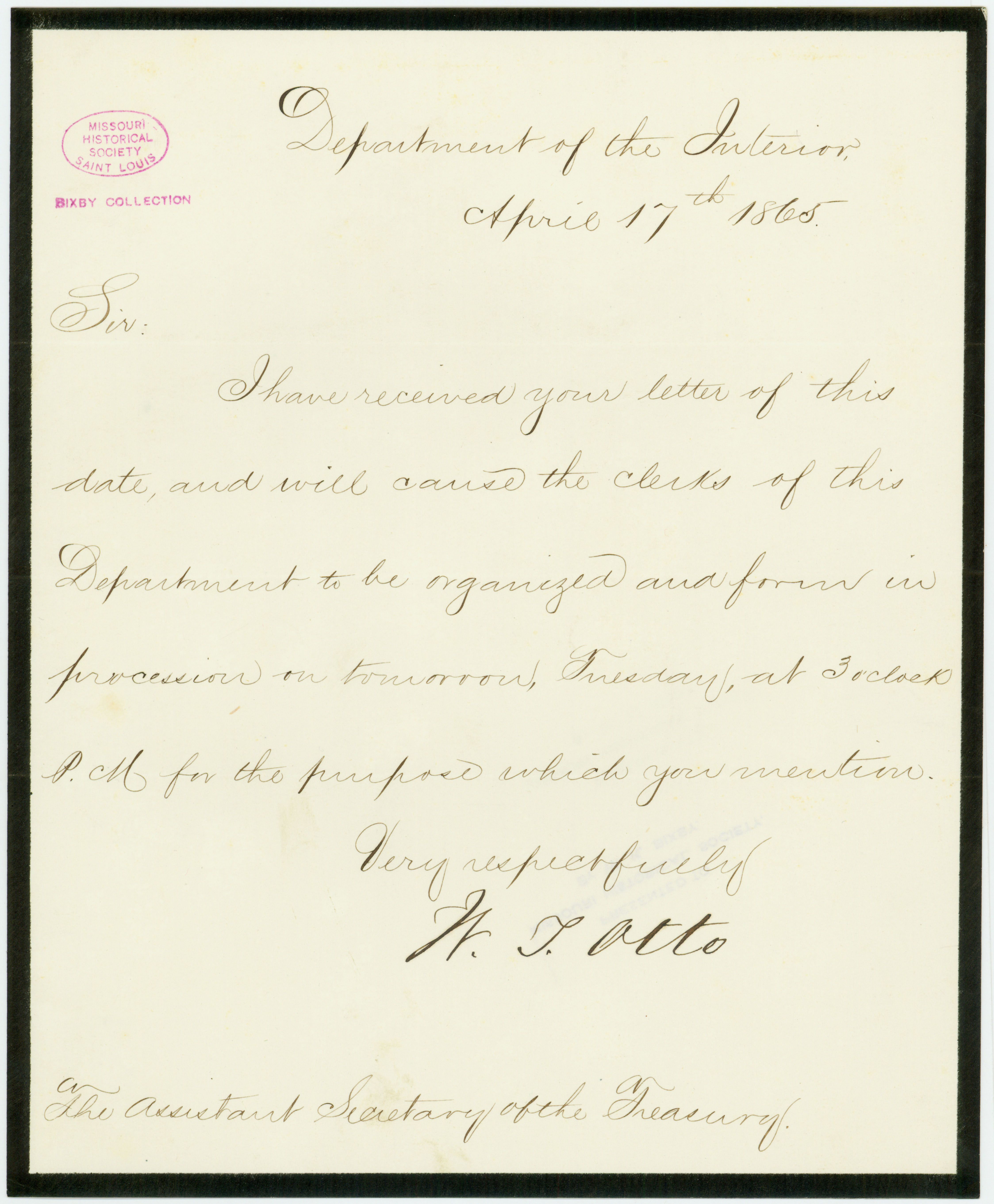 Letter signed W.J. Otto, Department of the Interior, to Assistant Secretary of the Treasury, [George Harrington], April 17, 1865