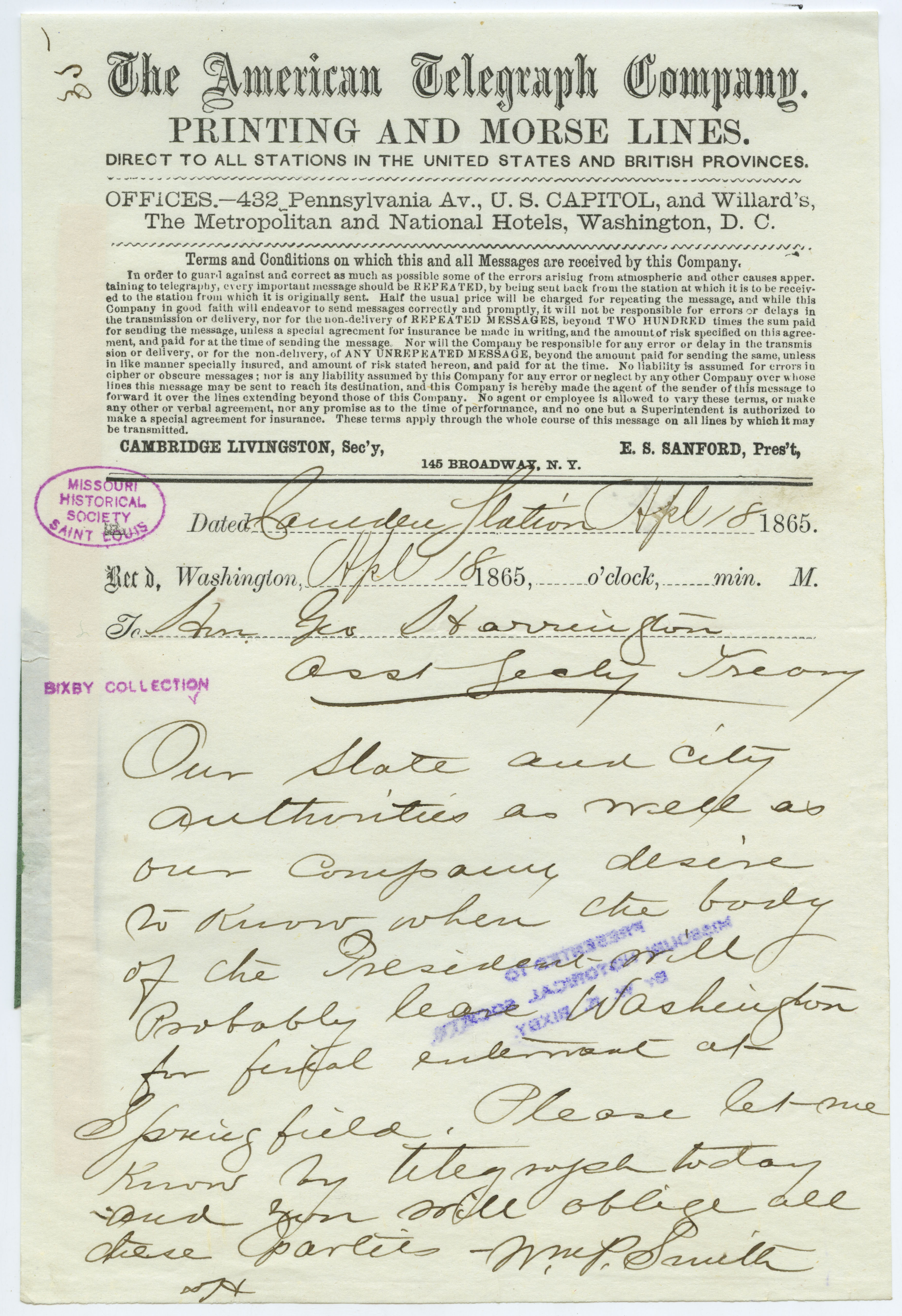 American Telegraph Company telegram of Wm. P. Smith [William P. Smith], Camden Station, to Hon. Geo. Harrington [George Harrington], Asst. Secty. Treasy., April 18, 1865