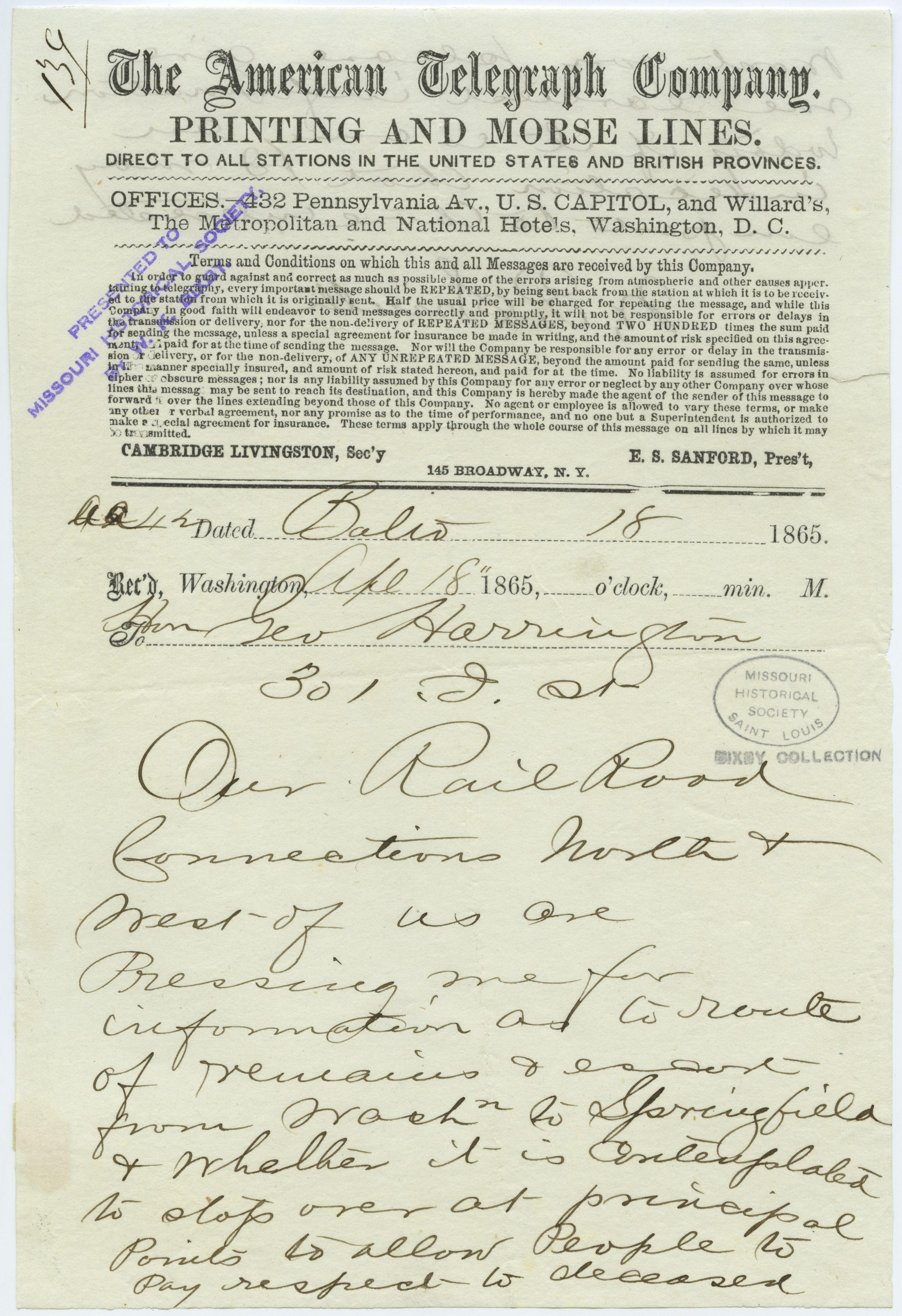 American Telegraph Company telegram of W.P. Smith, Balio. [Baltimore], to Hon. Geo. Harrington [Geo. Harrington], 301 D St., April 18, 1865