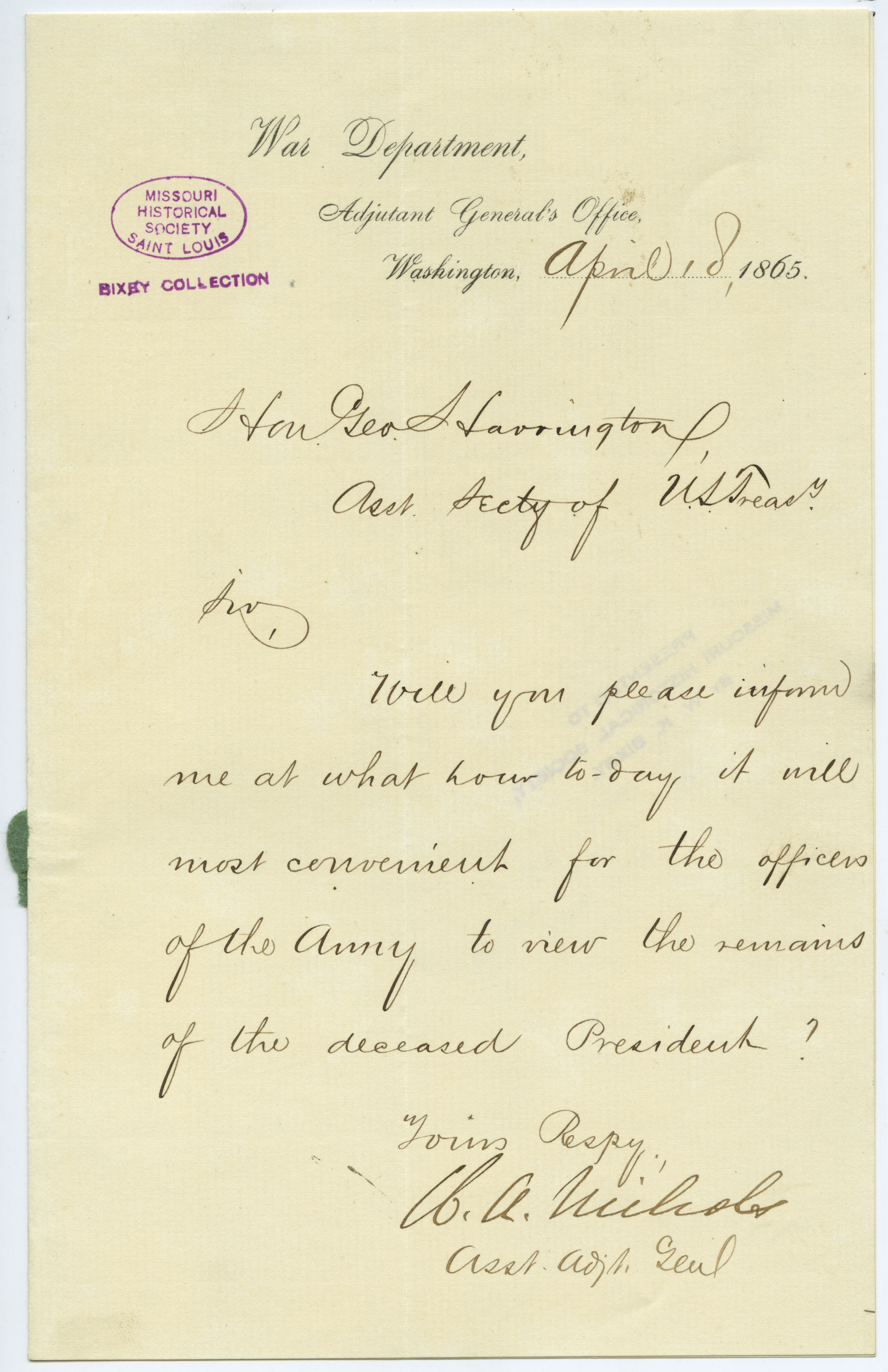 Letter signed W.A. Nichols, Asst. Adj. Genl., War Department, Adjutant General's Office, Washington, to Hon. Geo. Harrington [George Harrington], Asst. Secty. of U.S. Treasy., April 18, 1865