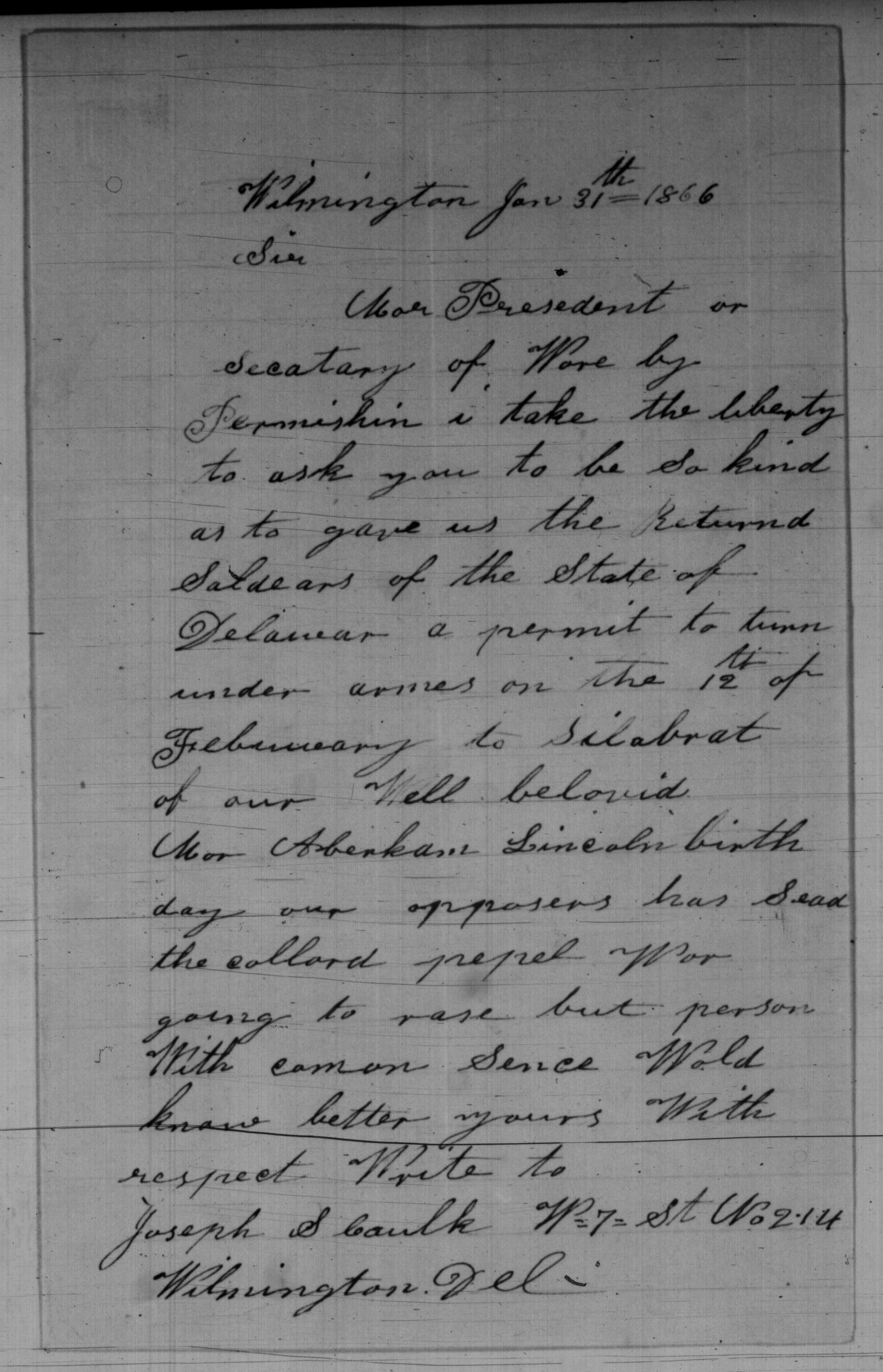 Joseph S. Caulk to Andrew Johnson and Edwin M. Stanton
