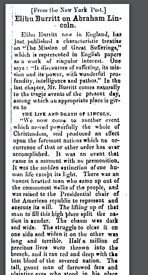 Elihu Burritt on Abraham Lincoln