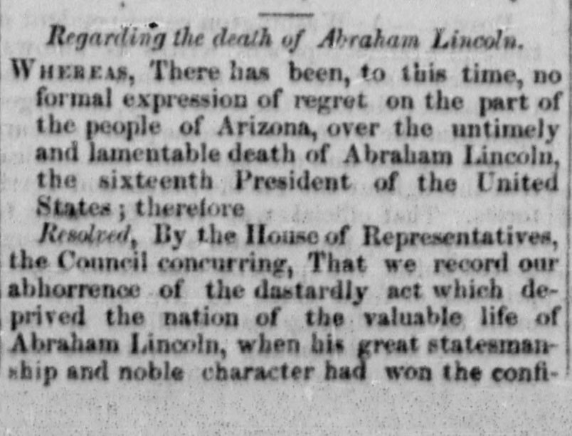 Regarding the Death of Abraham Lincoln, Arizona Miner