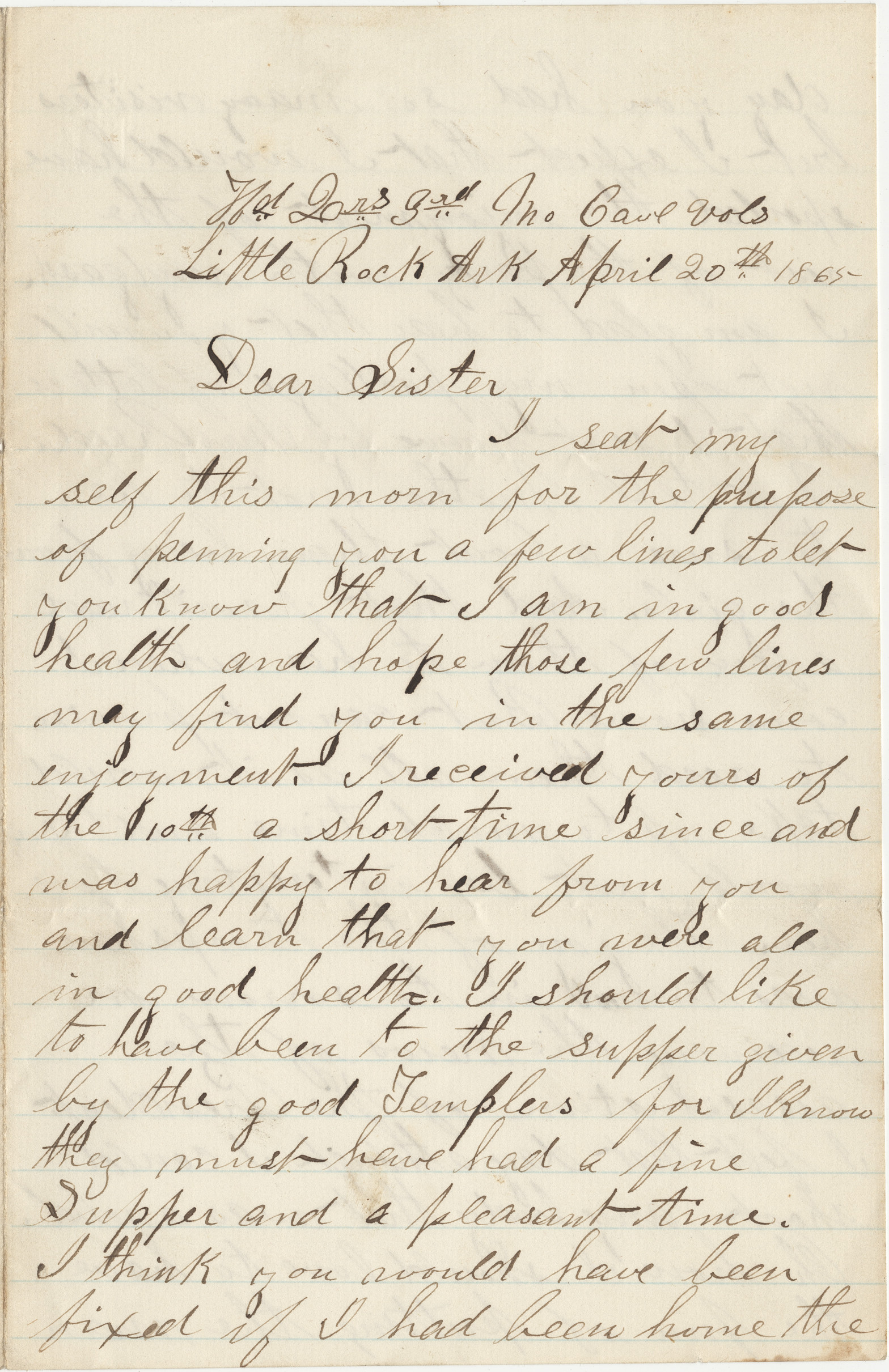 Letter from William H. Kesler, 3rd Missouri Cavalry, to his sister Rose Ann Kesler