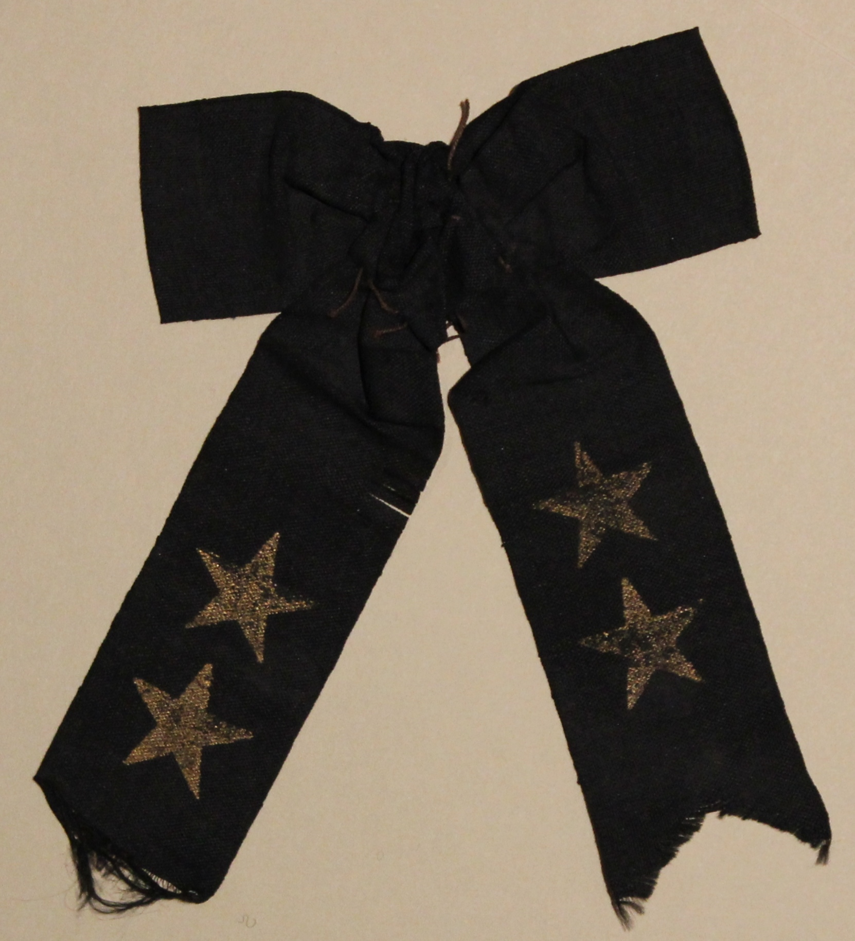 Black Mourning Bow with Gold Stars