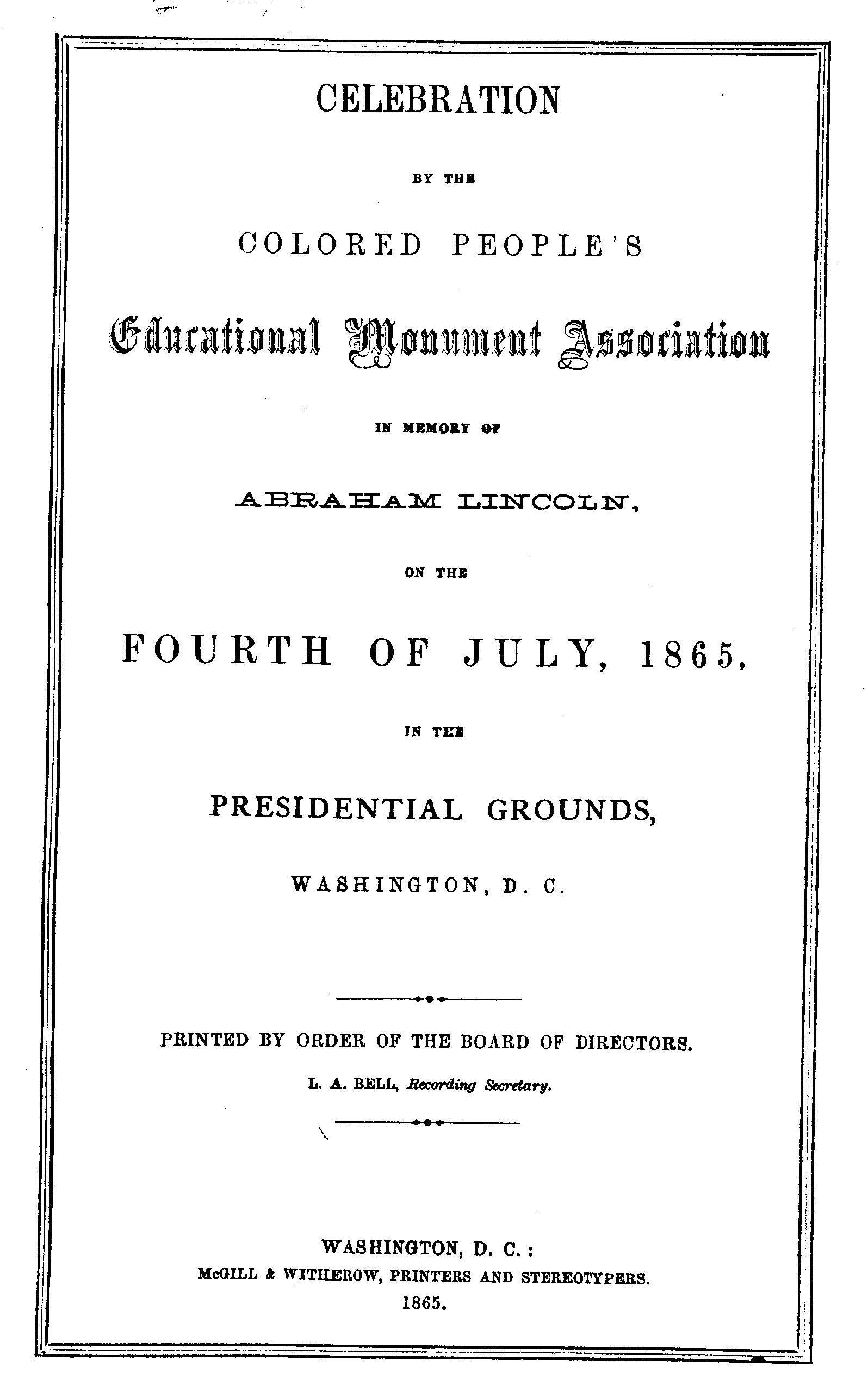 Celebration by the Colored People's Educational Monument Association in Memory of Abraham Lincoln