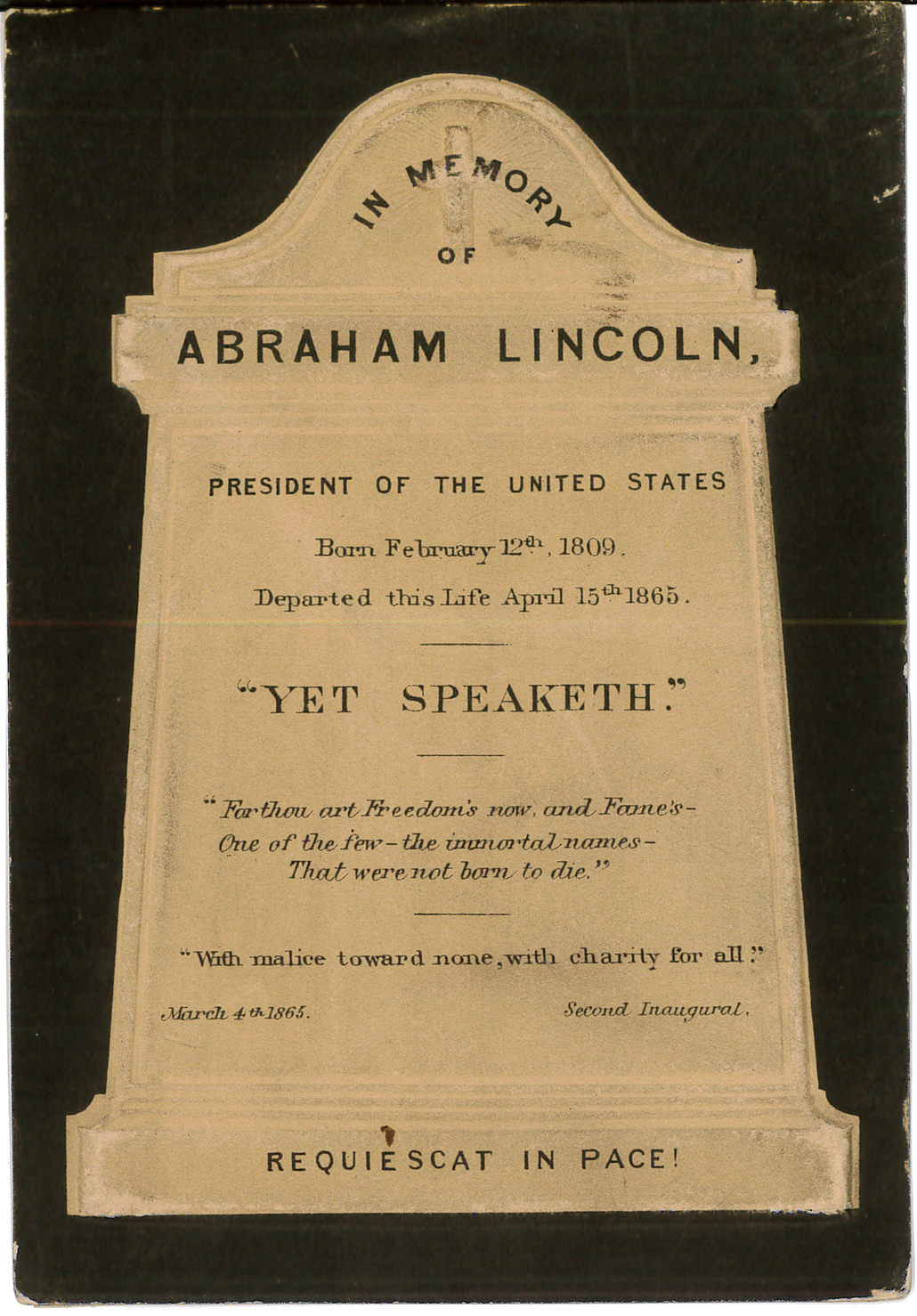 Card – In Memory of Abraham Lincoln Headstone