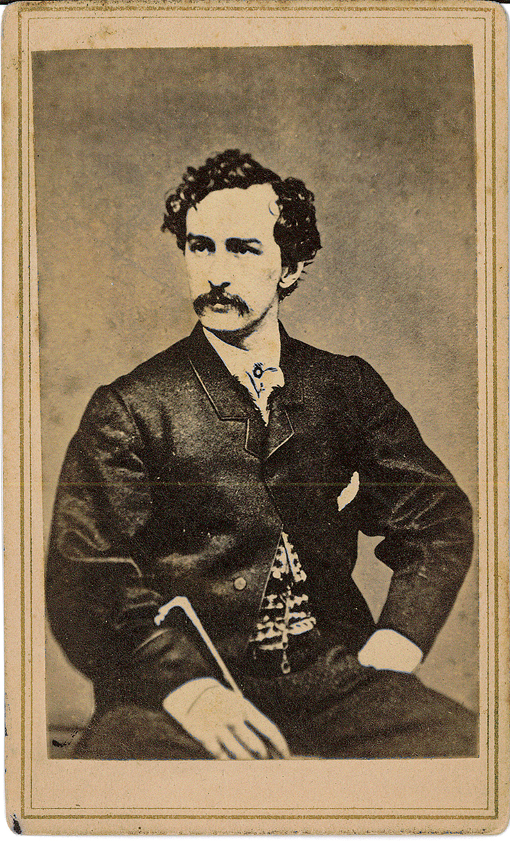 Card – photo of John Wilkes Booth sitting (front)