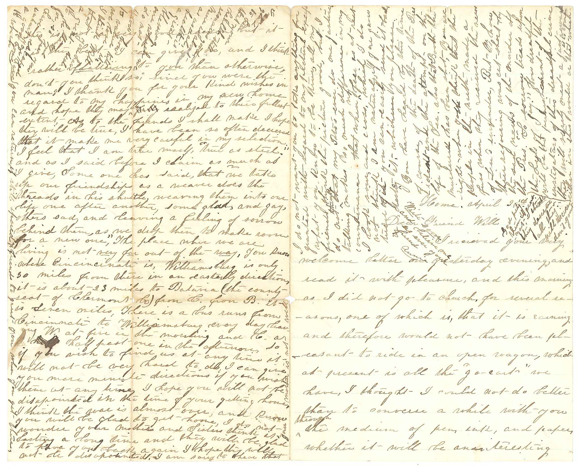 Letter from Annie to Will, April 30, 1865