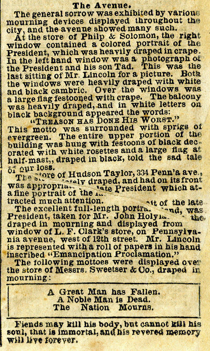 Account of Lincoln's Funeral in Washington, D.C.[Detail]