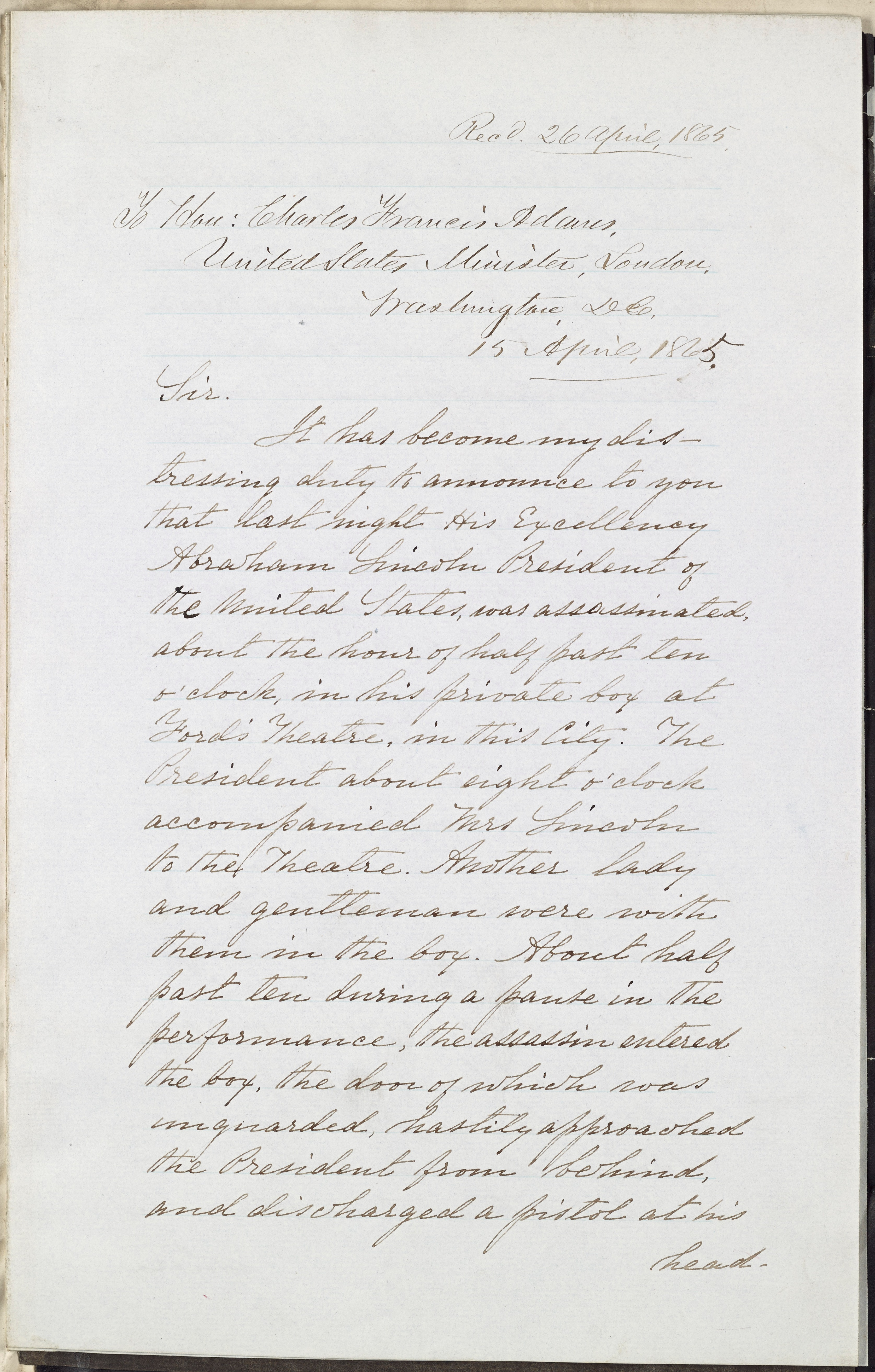 Dispatch, Edwin Stanton to Charles Francis Adams