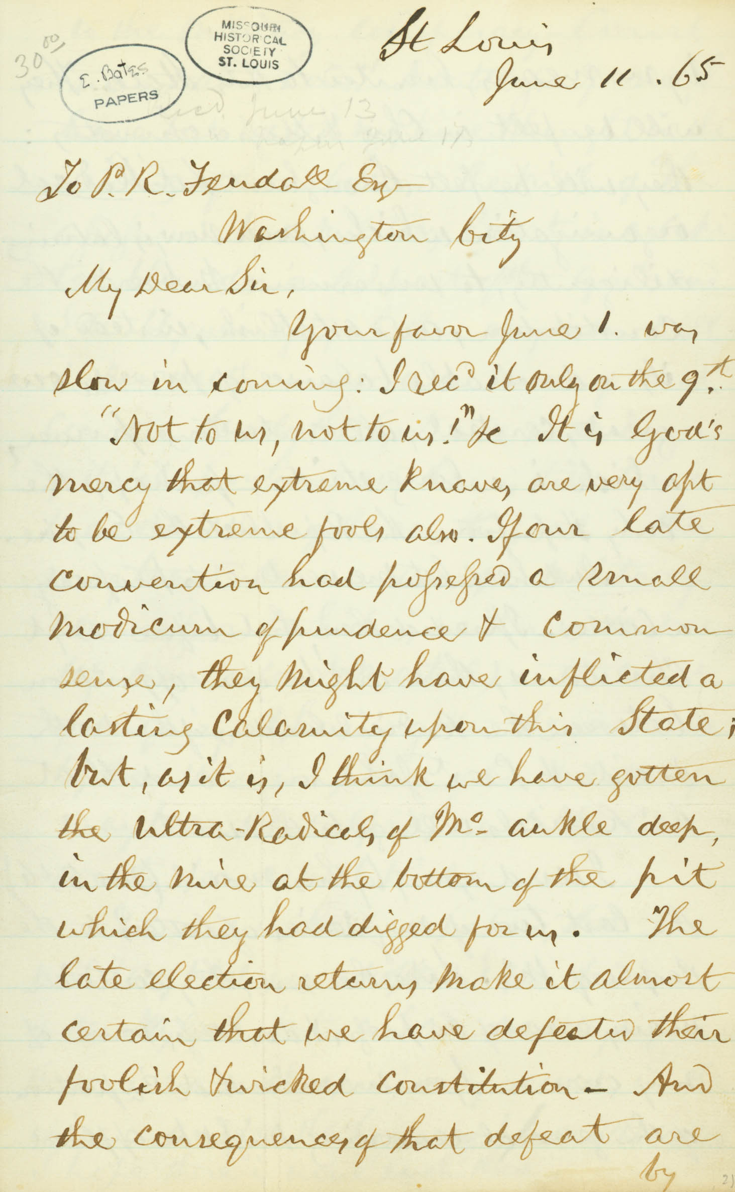 Letter of Edward Bates, St. Louis, to P. R. Fendall, Esq., Washington City, June 11, 1865