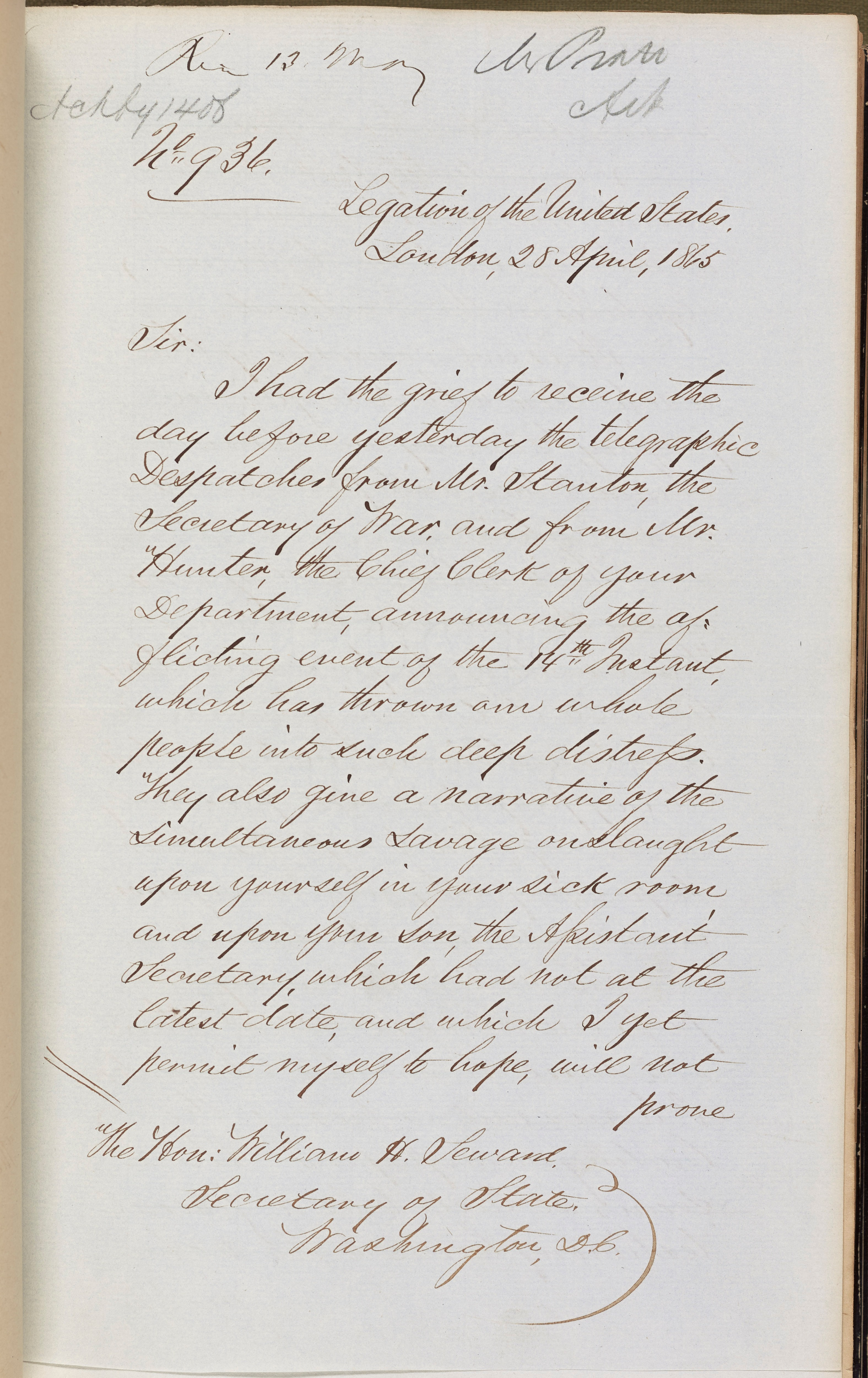 Embassy Despatch 936: Charles Francis Adams to William H. Seward