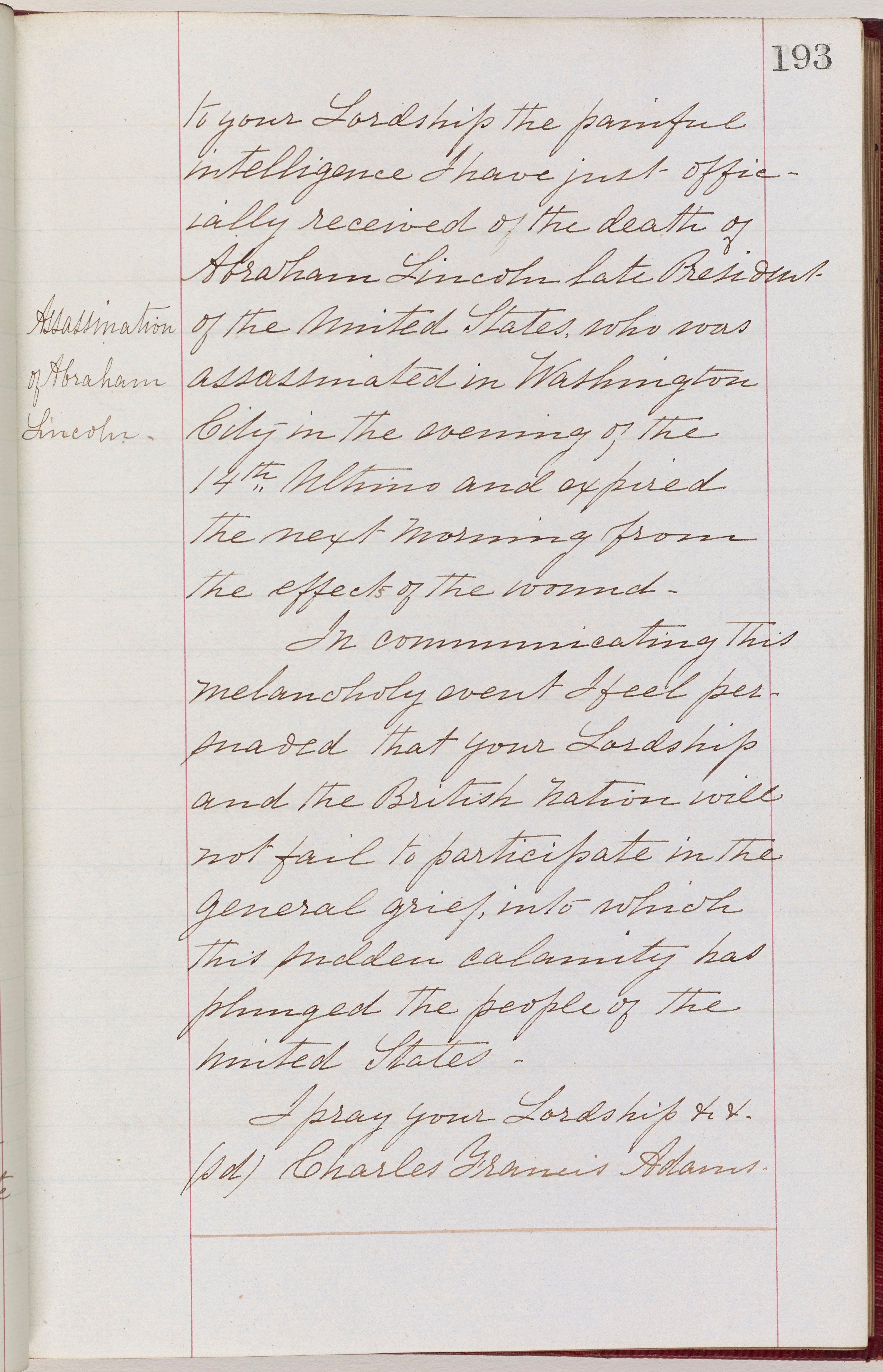 Charles Francis Adams to Foreign Minister Earl Russell