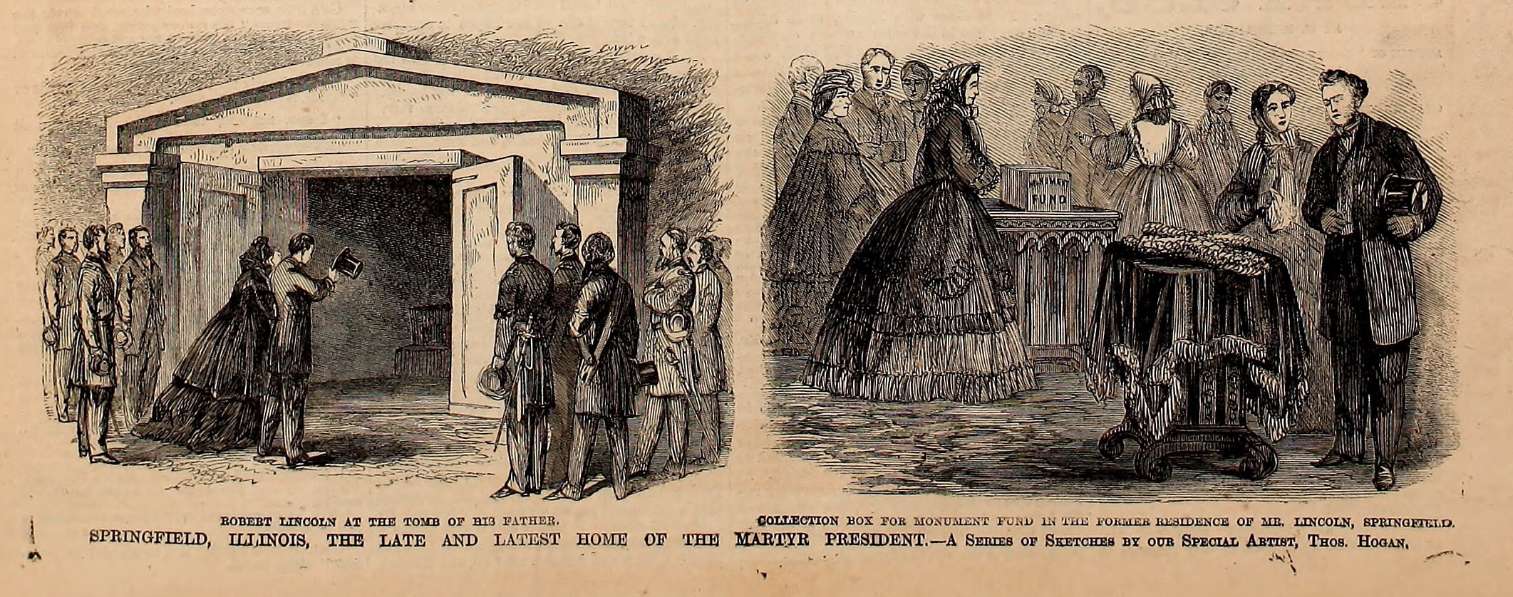 Mourners at Abraham Lincoln's Funeral in Springfield, IL - Frank Leslie's Illustrated Newspaper Drawing