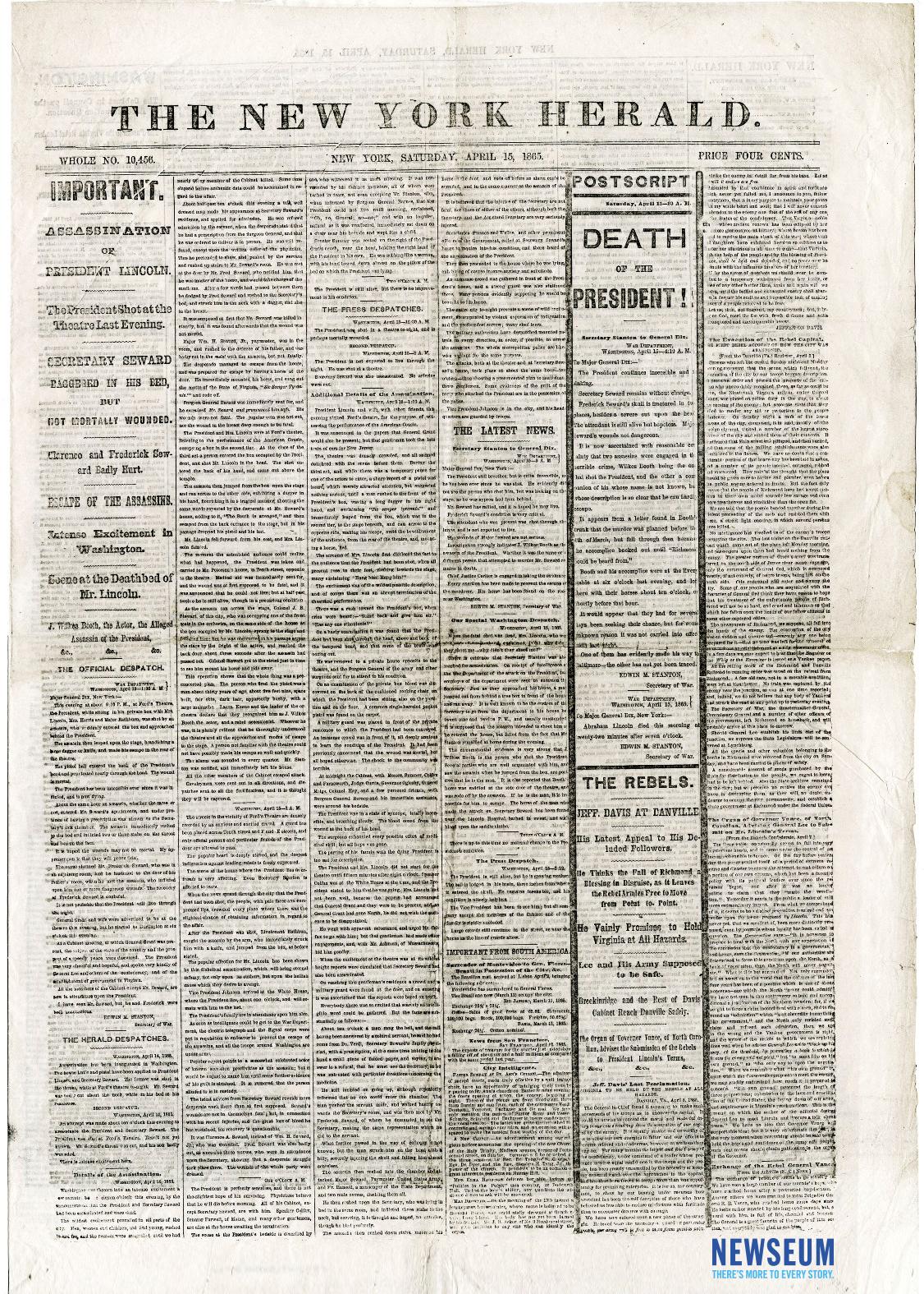 The New York Herald, April 15, 1865